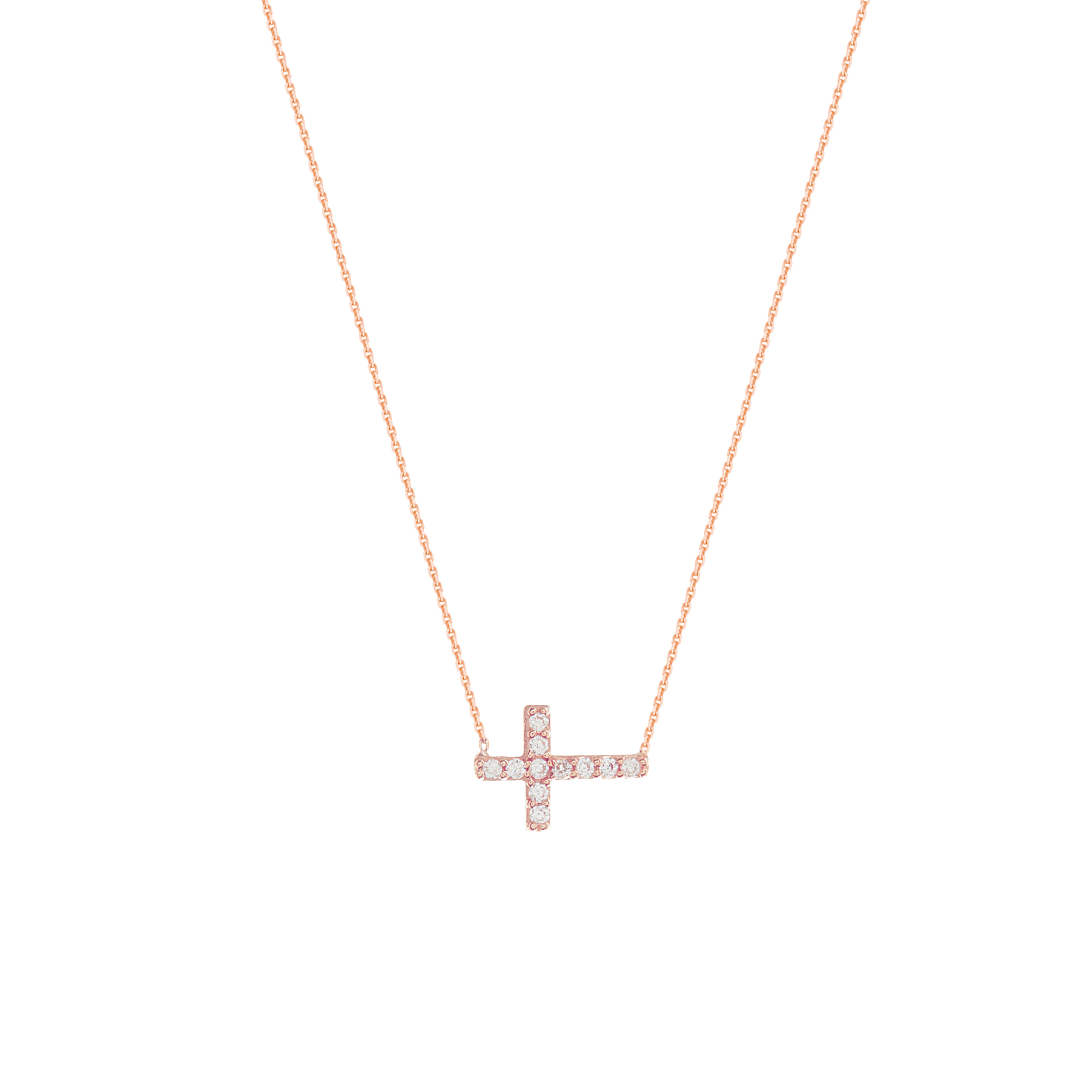 Cross Necklace, 14Kt Gold & Cz Cross Necklace 18
