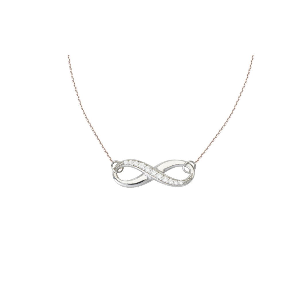 Infinity Necklace, 14Kt Gold  & Cz Infinity Necklace 18