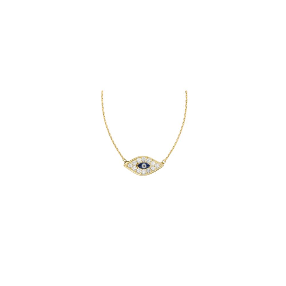 Evil Eye Necklace, 14Kt Gold & Cz Evil Eye Necklace 18