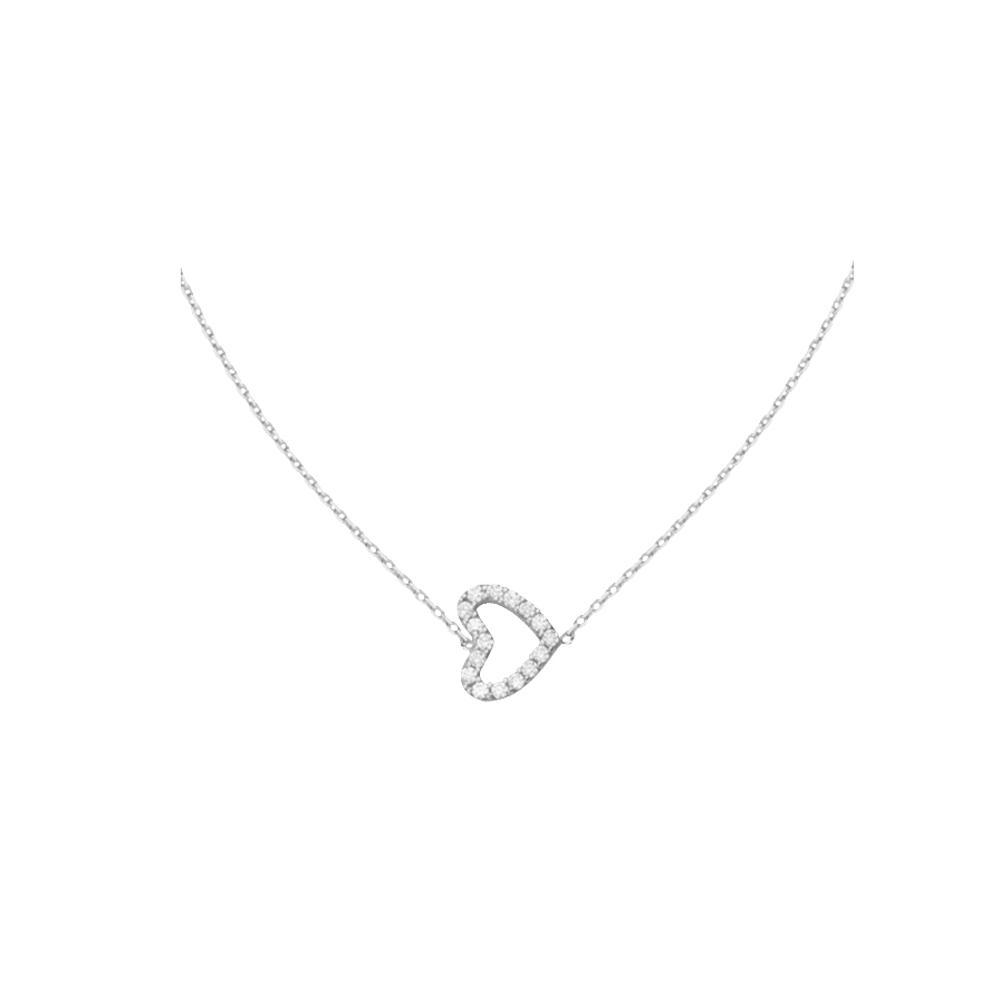 Heart Necklace, 14Kt Gold & Cz Love Necklace 18