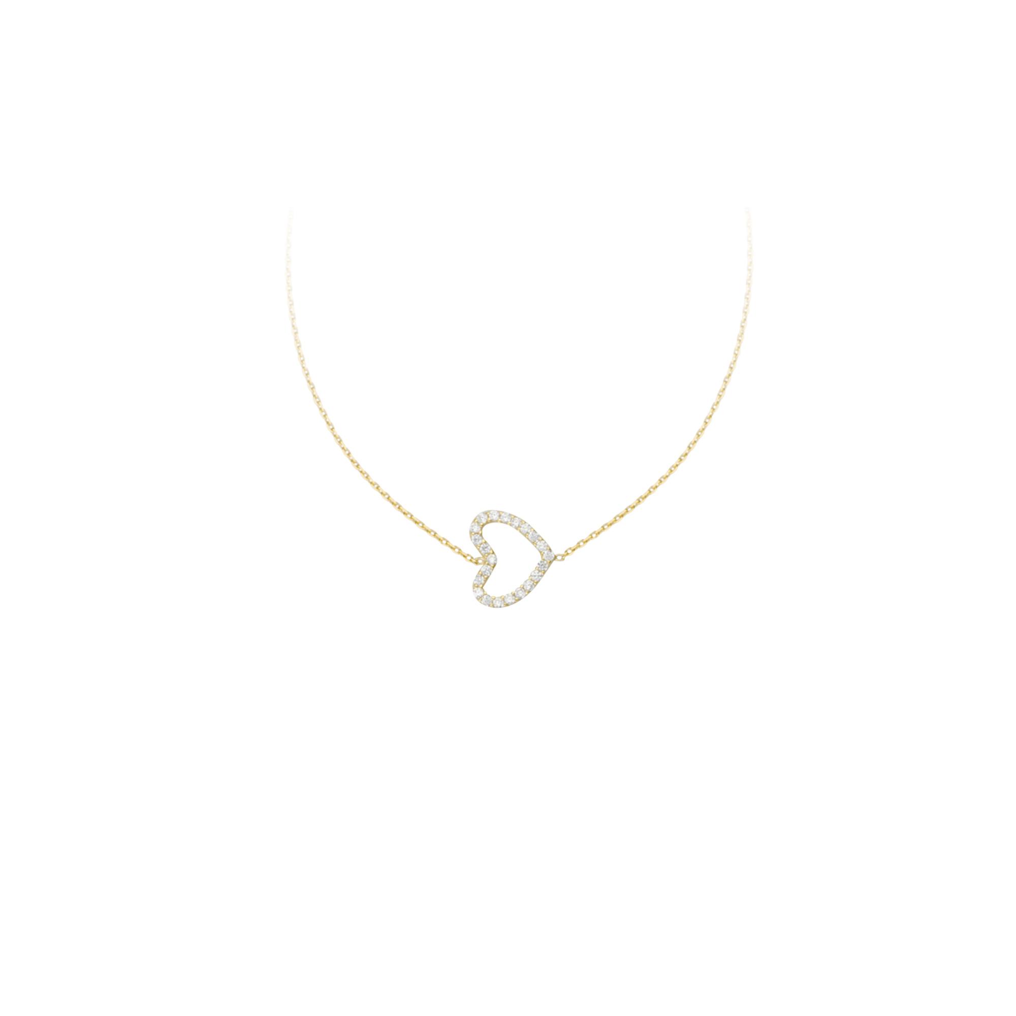 Heart Necklace, 14Kt Gold & Cz Heart Necklace 18