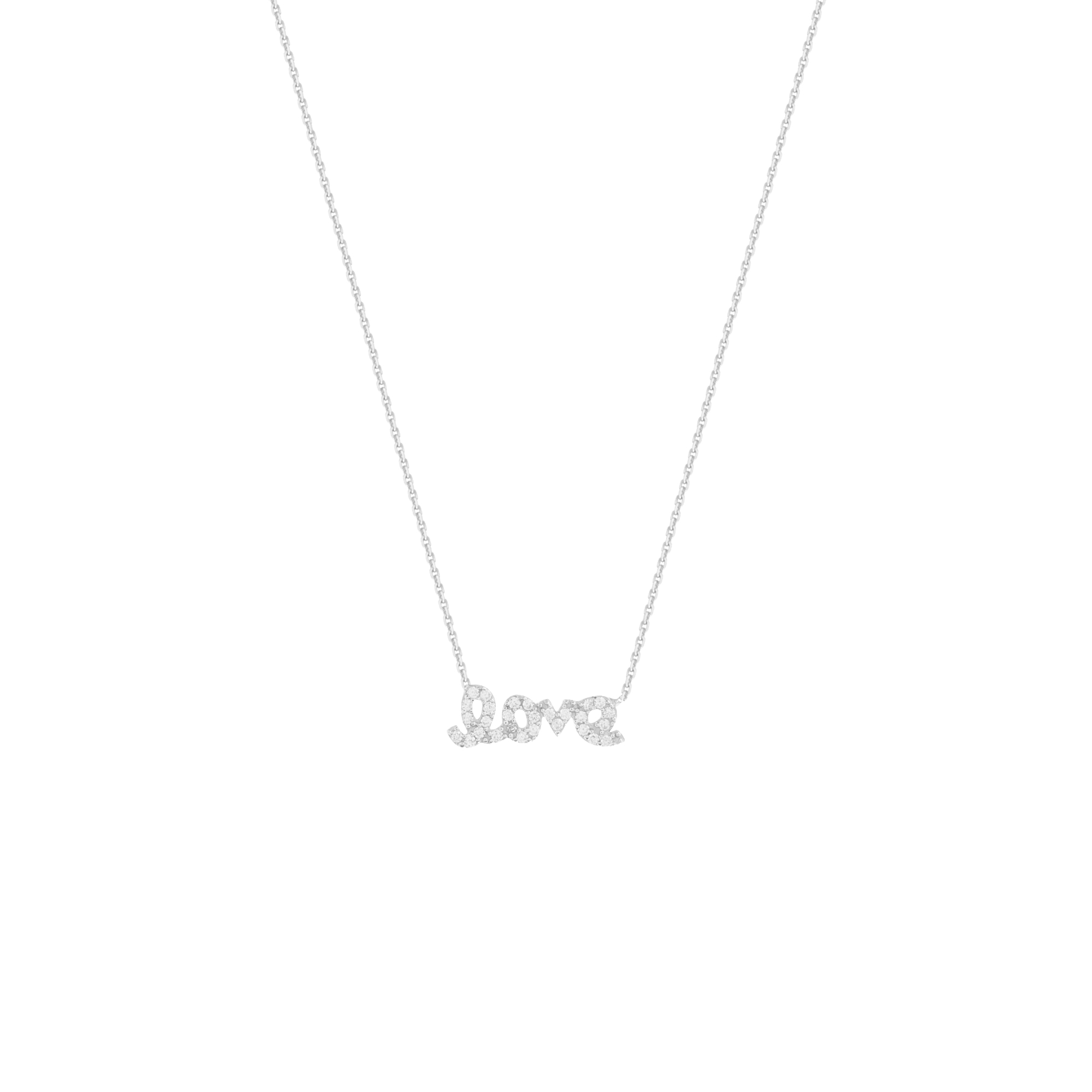 Love Necklace, 14Kt Gold & Cz Necklace 18