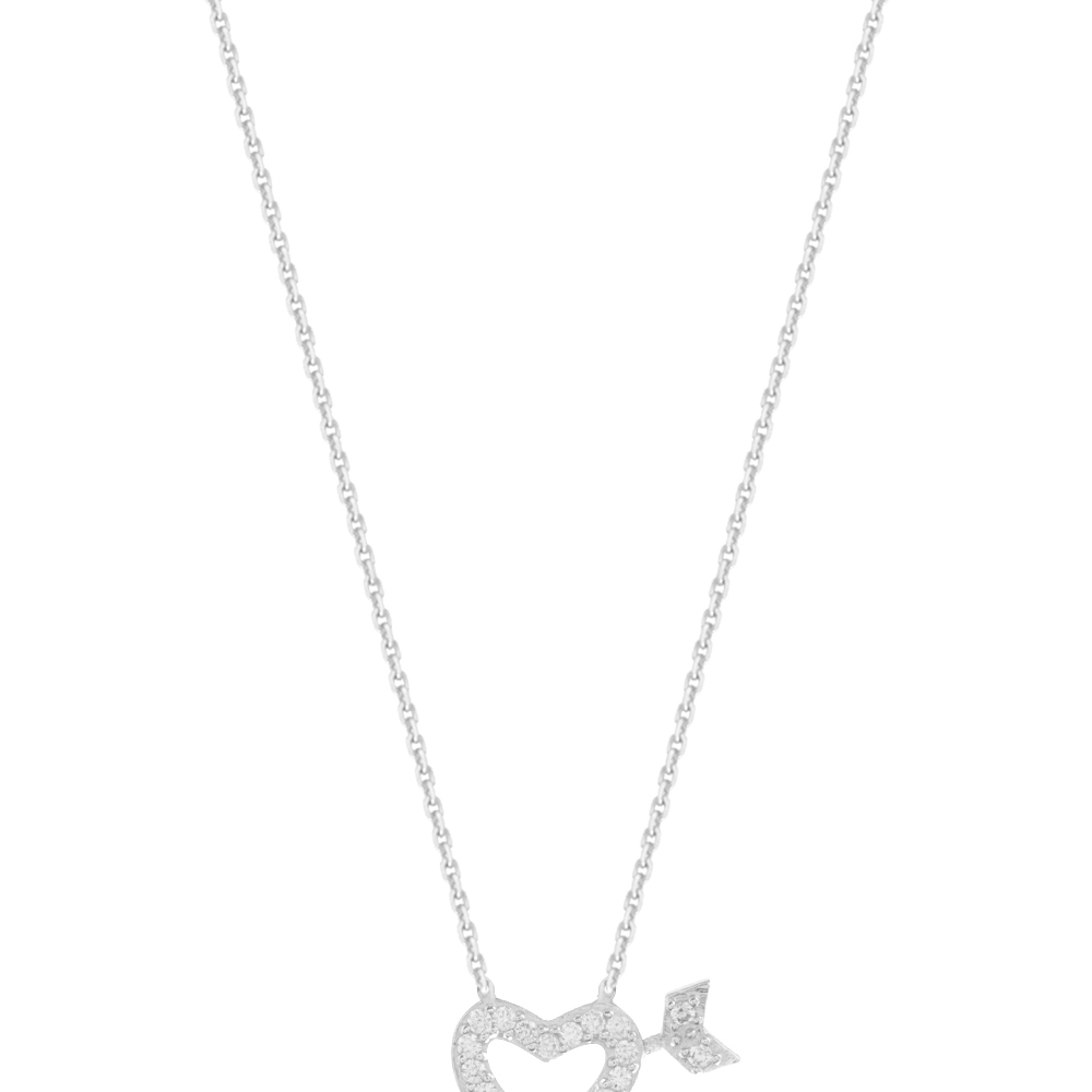 Heart Arrow Necklace, 14Kt Gold Heart Arrow Necklace 18