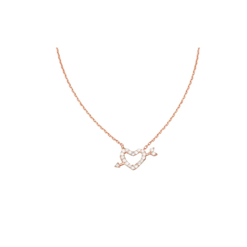 Heart Arrow Necklace, 14Kt Gold & Cz Heart Arrow Necklace 18