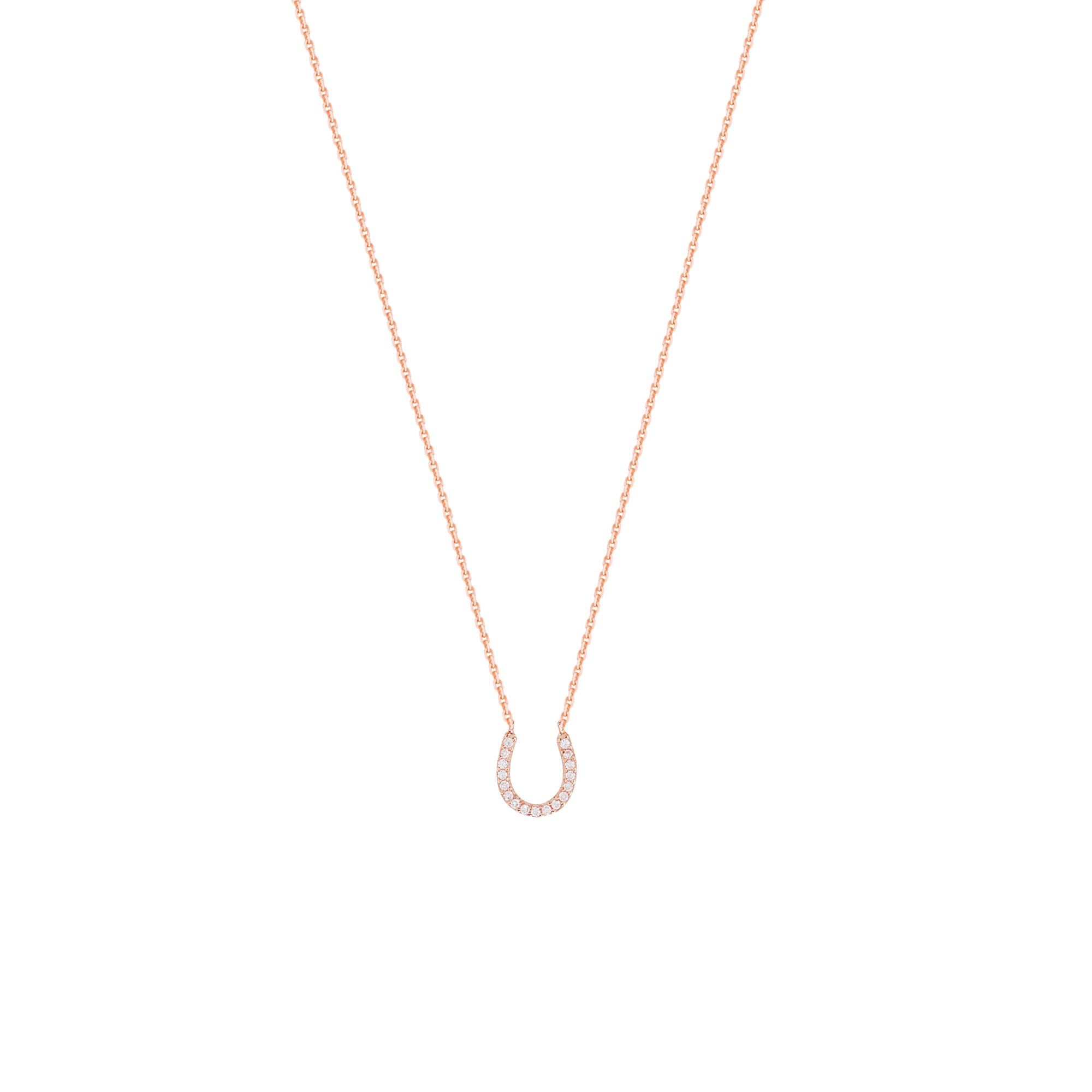 Horseshoe Necklace,14 Kt Gold & Cz Horseshoe Necklace 18