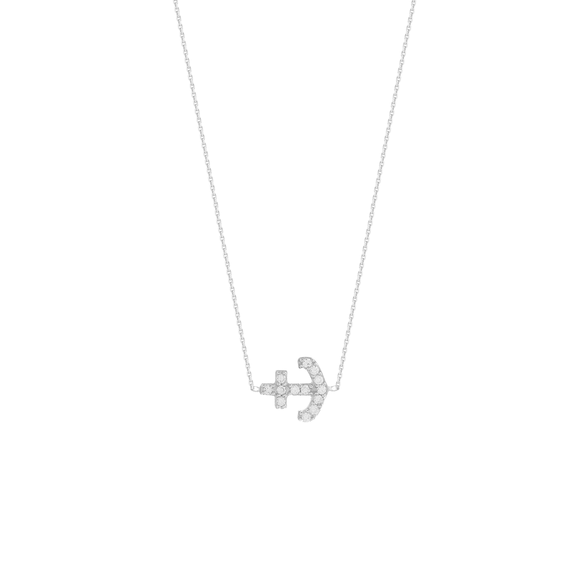 Anchor Necklace, 14Kt Gold Cz Anchor Necklace 18