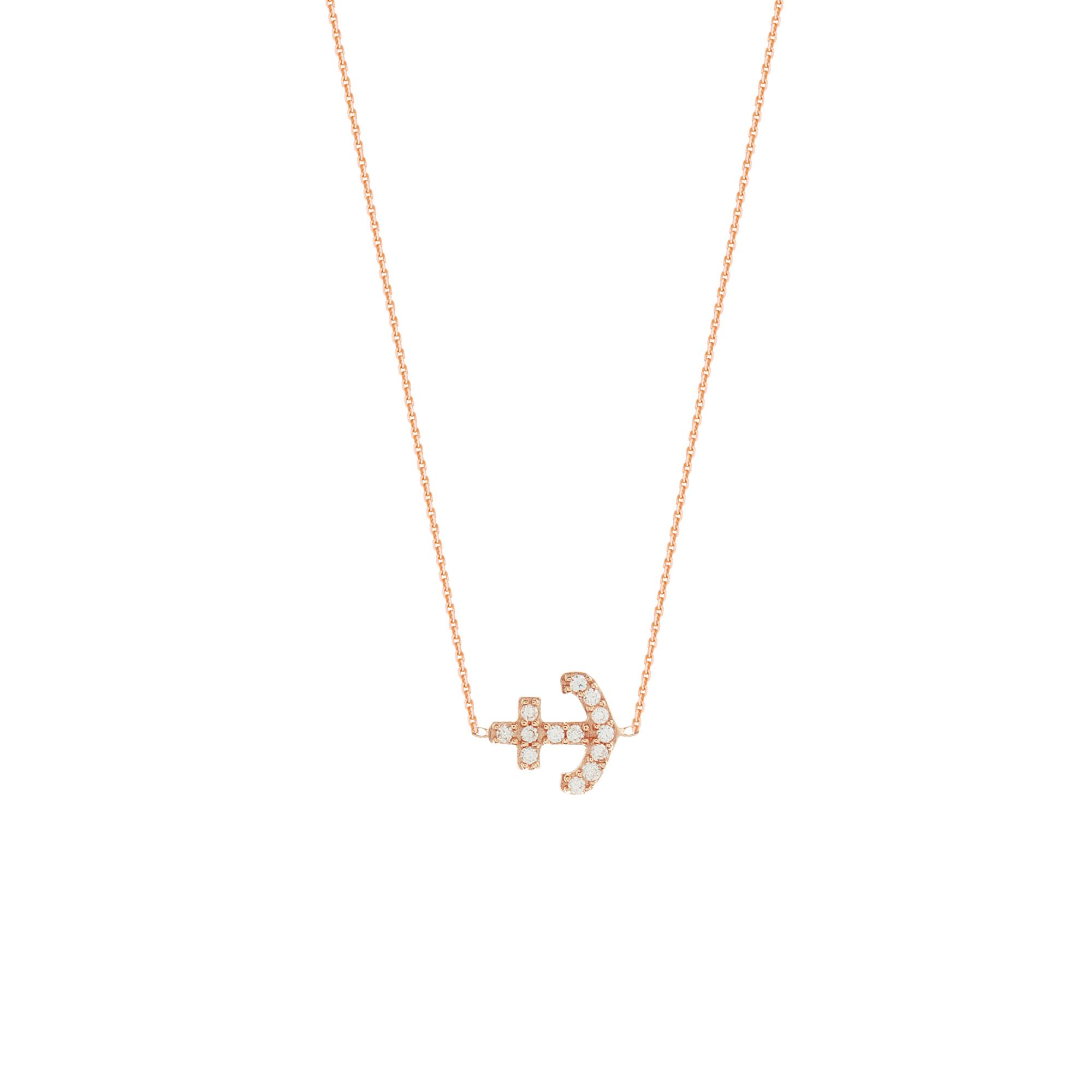 Anchor Necklace, 14Kt Gold Cz Anchor Necklace 18