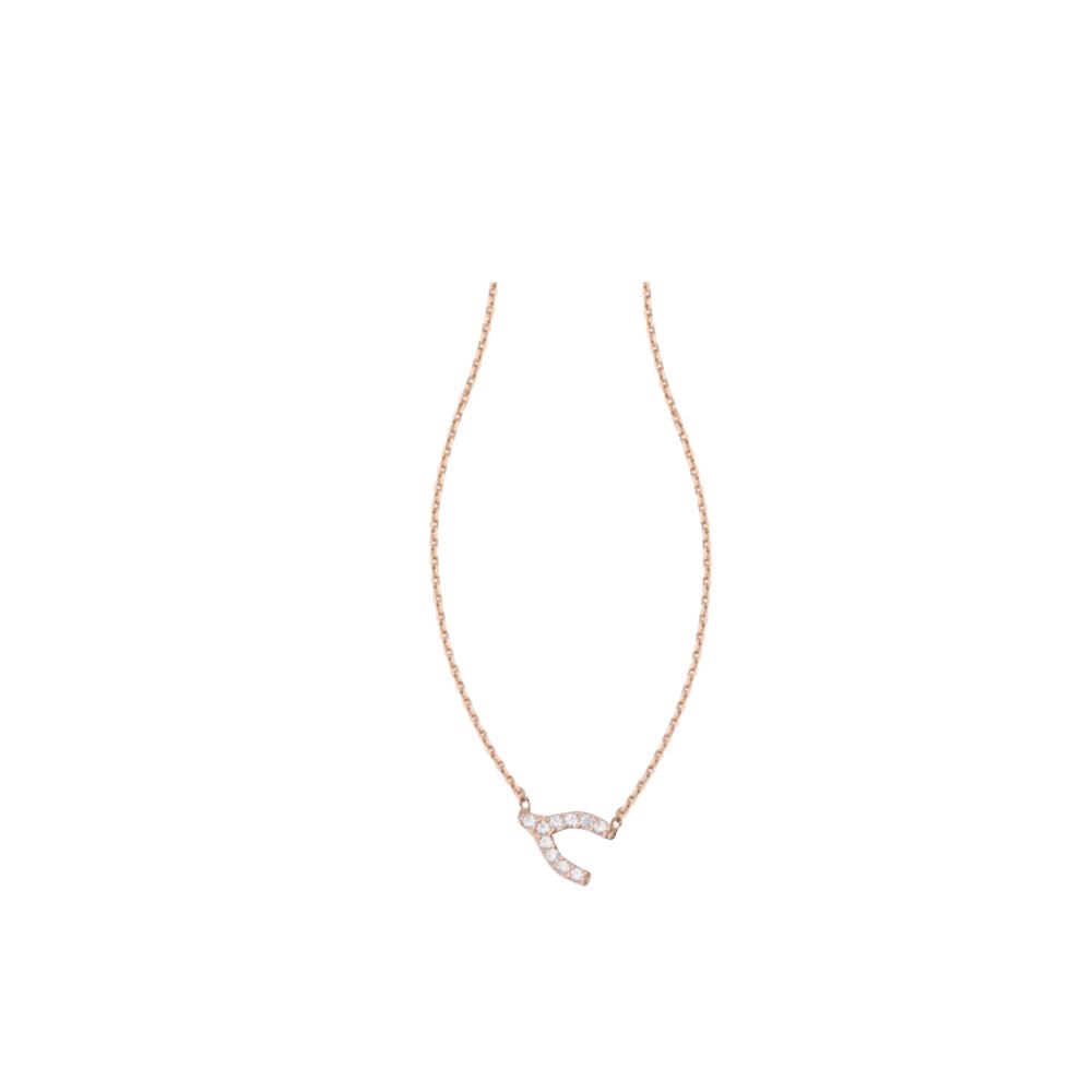Wishbone Necklace, 14Kt Gold & Cz Wishbone Necklace 18