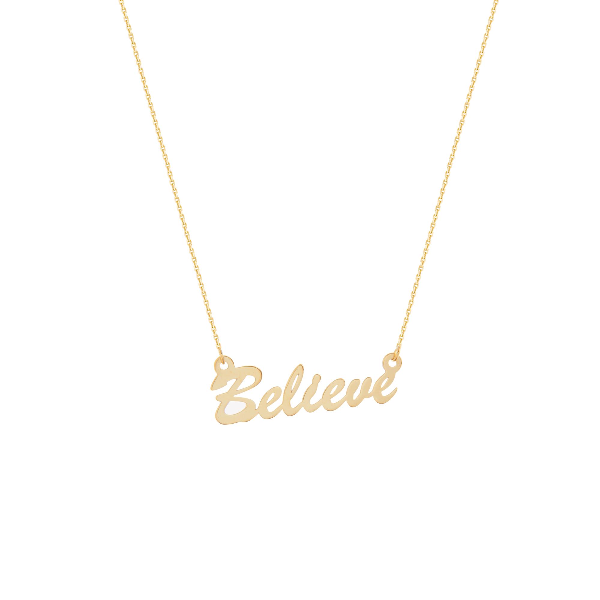 Believe Necklace, 14Kt Gold Believe Necklace 18