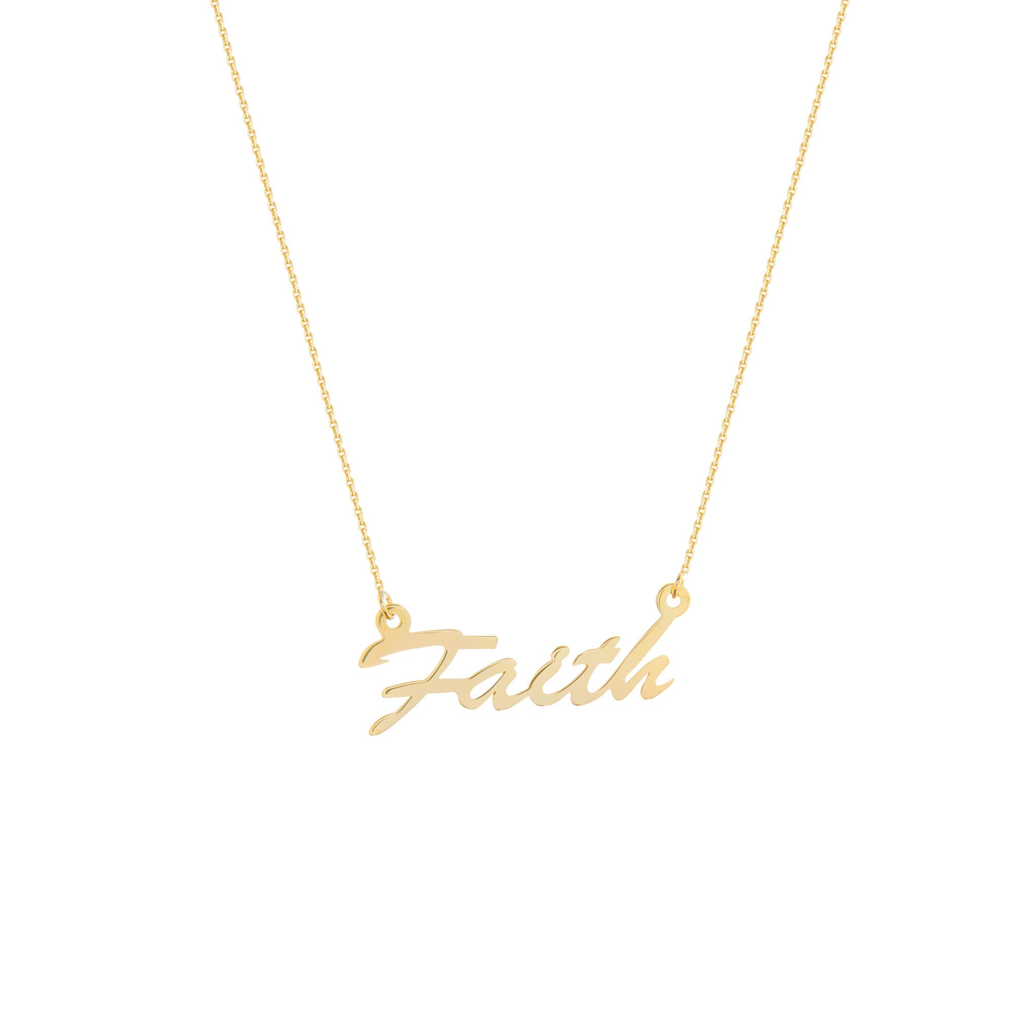 Faith Necklace, 14Kt Gold Faith Necklace 18