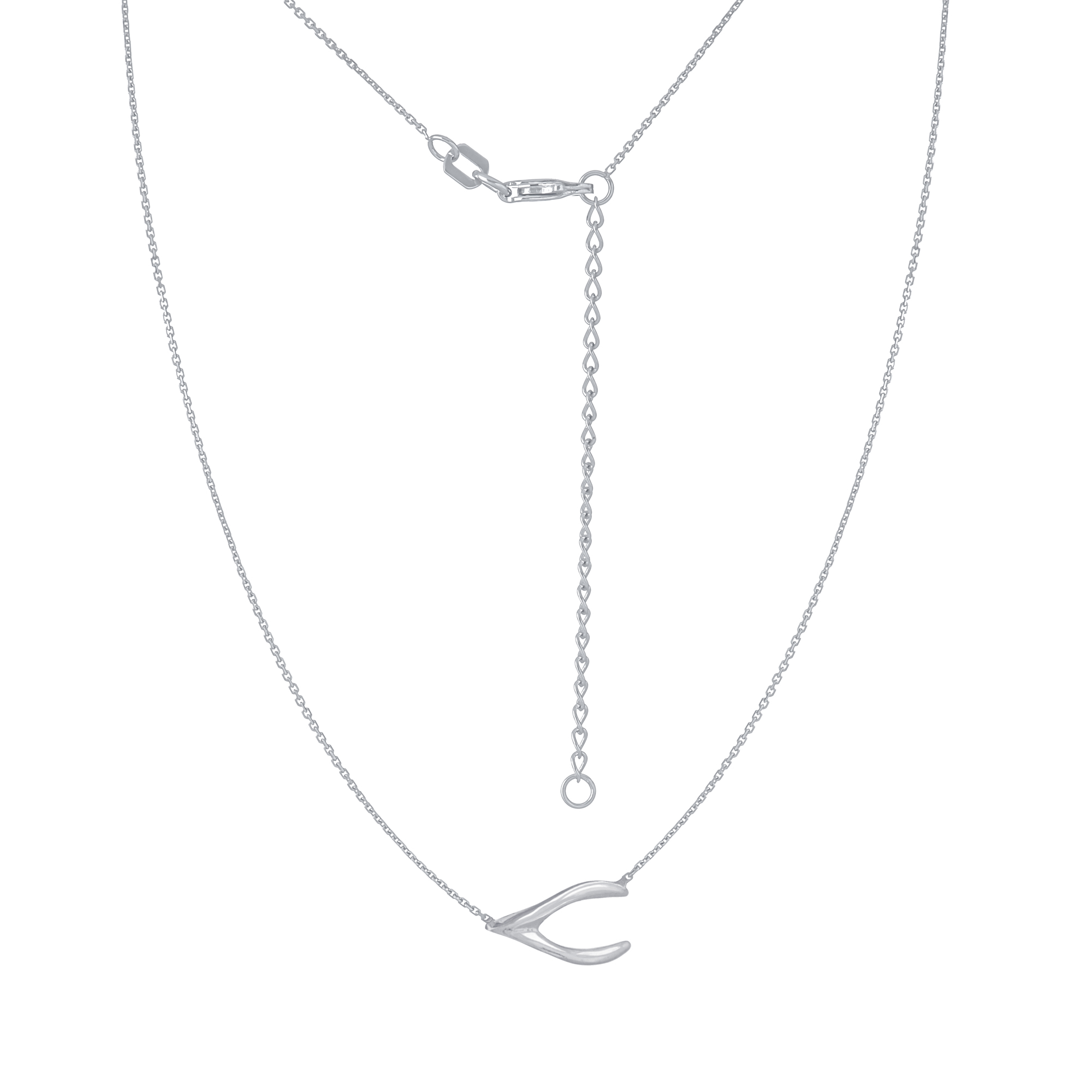 Wishbone Necklace, 14Kt Gold Wishbone Necklace 18