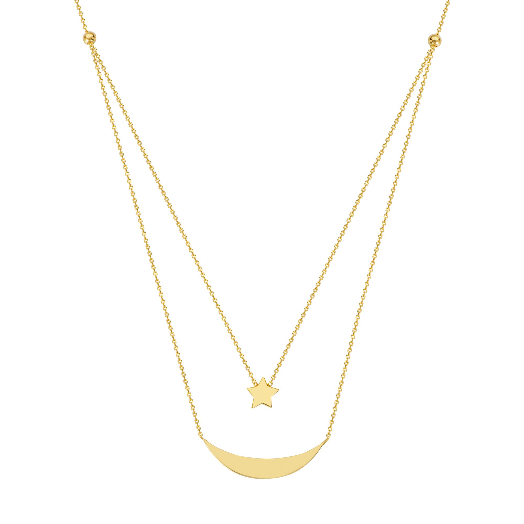 Navigation  Necklace, 14Kt Gold Navigation Necklace 18