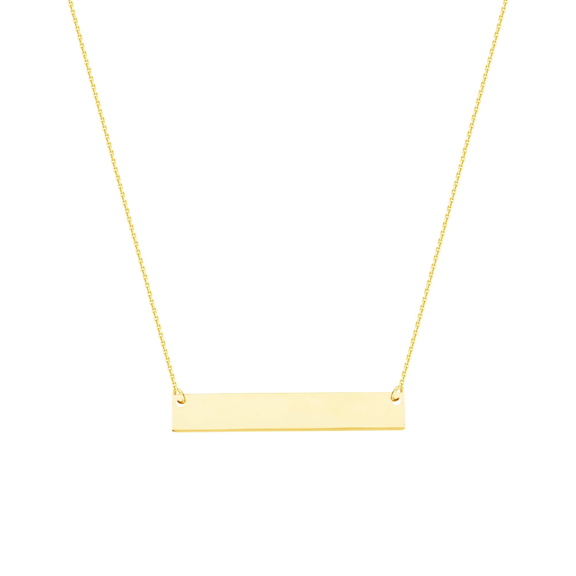 Name Plate Necklace, 14Kt Gold Name Plate Necklace 18