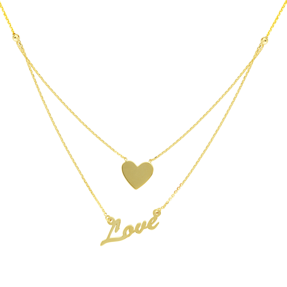 Love And Hear  Necklace, 14Kt Gold Love And Hear 18