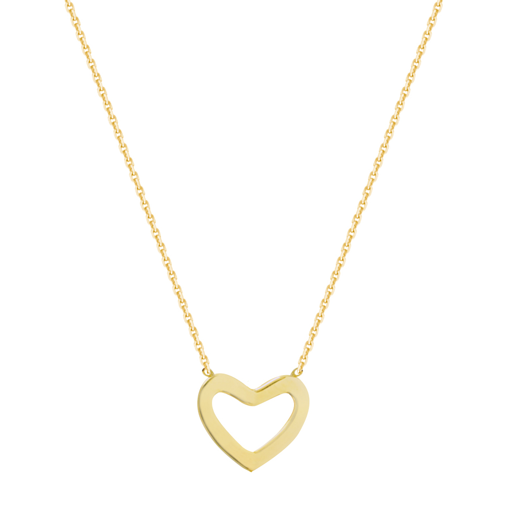 Heart Necklace, 14Kt Gold  Love Necklace 18