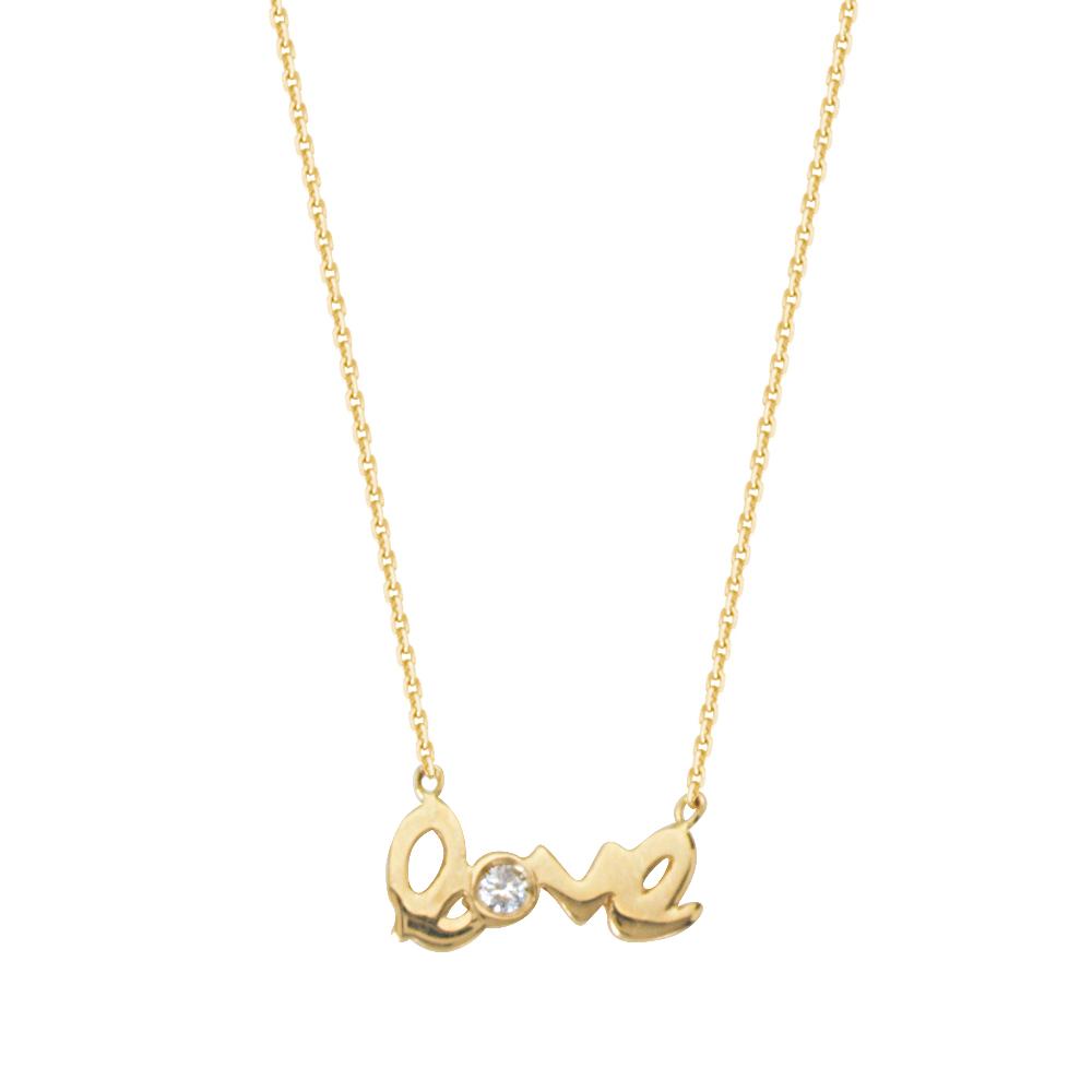 Love Necklace, 14Kt Gold & Diamond Necklace 18