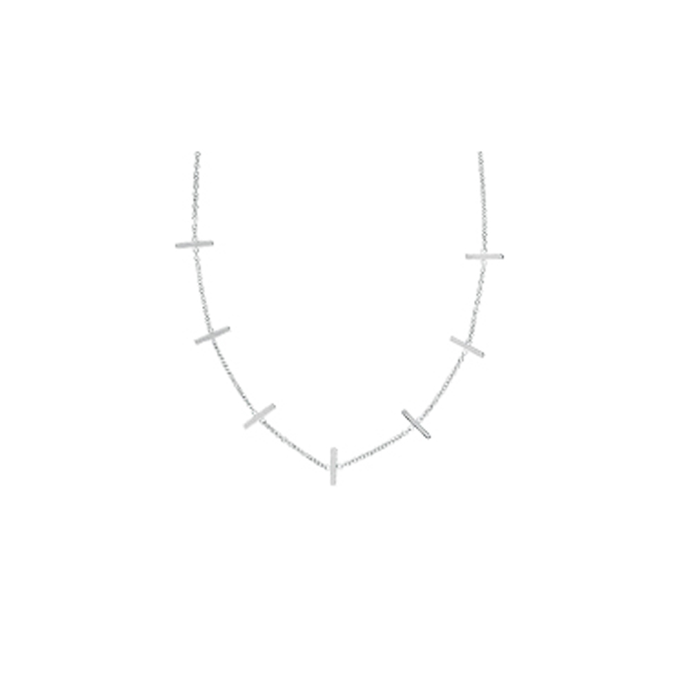 Seven Staples   Necklace, 14Kt Gold Diamond  Staples  18