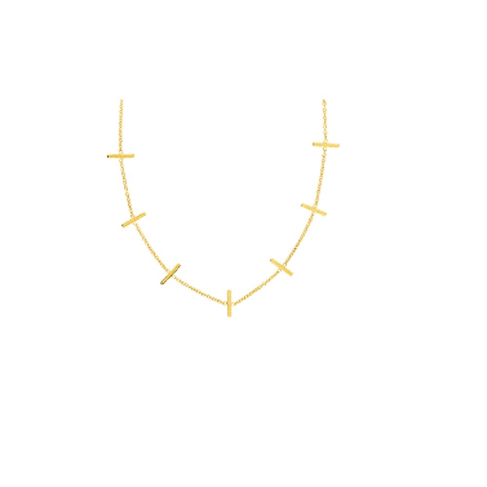 Seven Staples   Necklace, 14Kt Gold Seven Staples  18