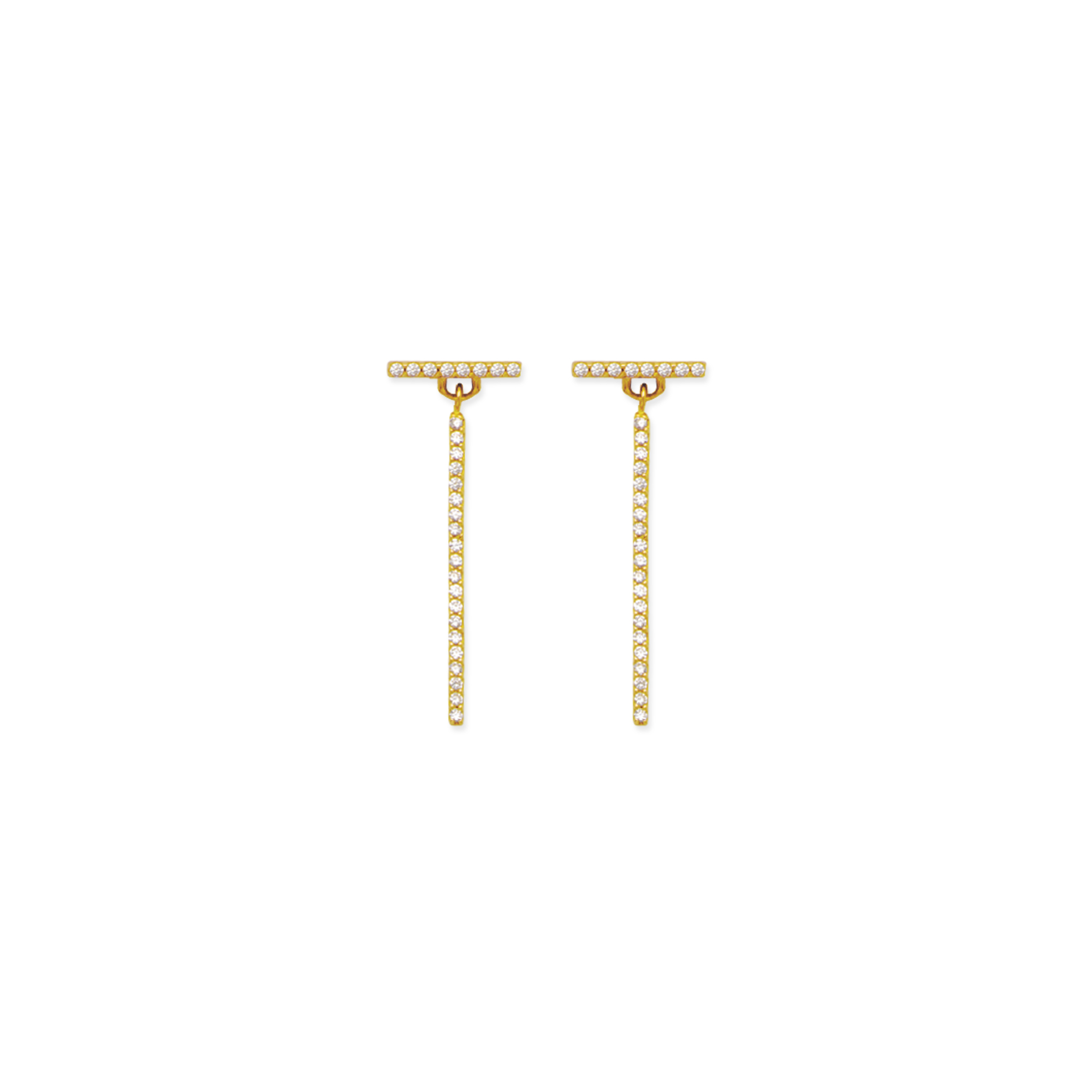 Bar Earrings, 14Kt Gold Cz L Bar Earring