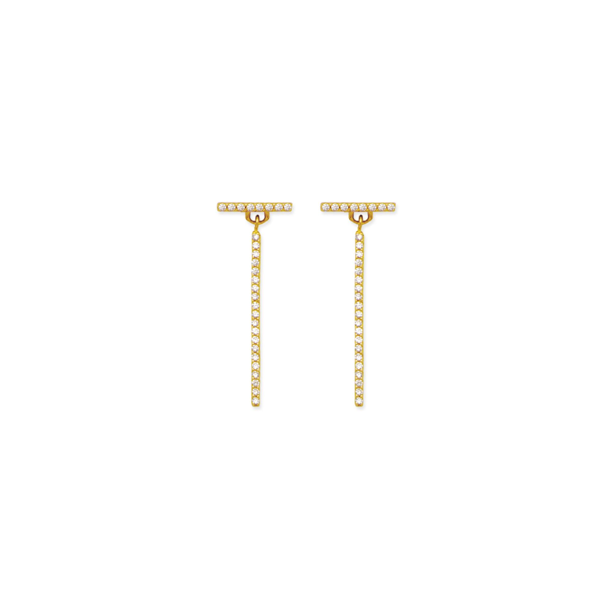 Bar Earrings, 14Kt Gold Cz L Bar Earring