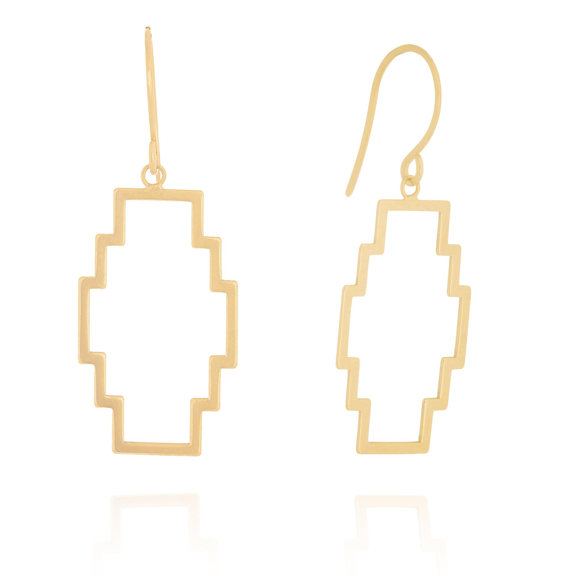 Box Dangle Earrings, 14Kt Gold Earring