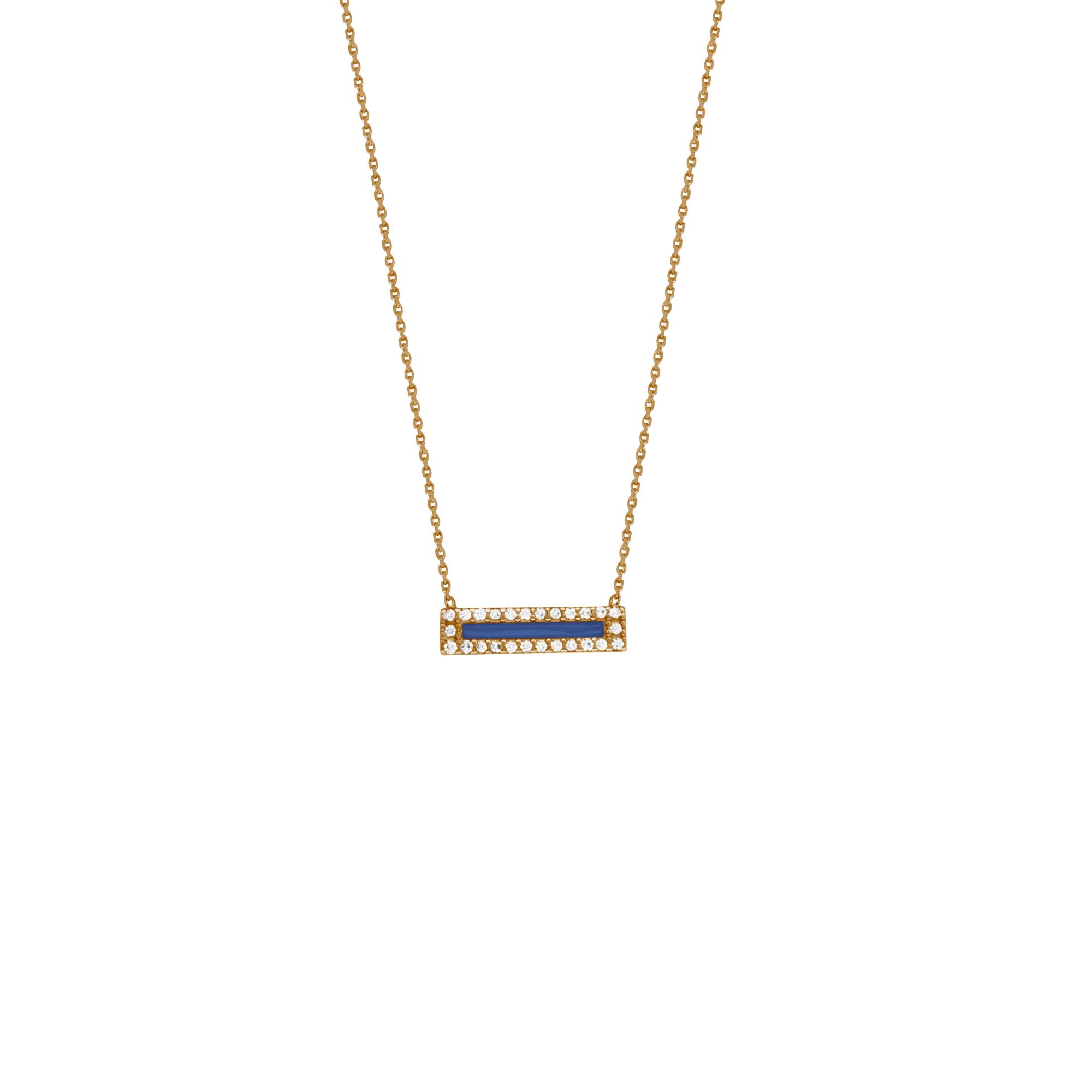 Enamel Necklace, 14Kt Gold & Cz Enamel Necklace 18
