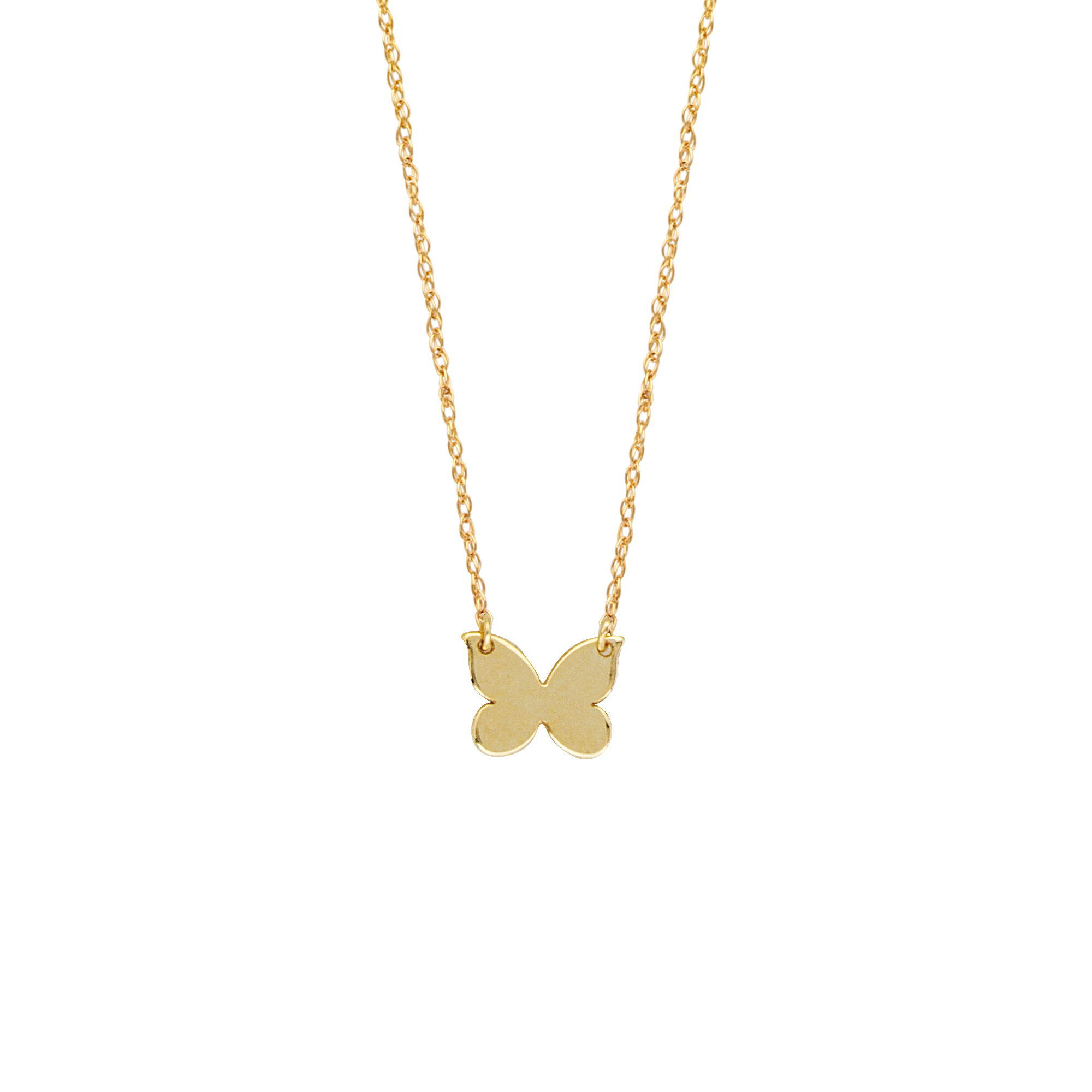 Butterfly Pendant, 14Kt Gold Butterfly Necklace 18