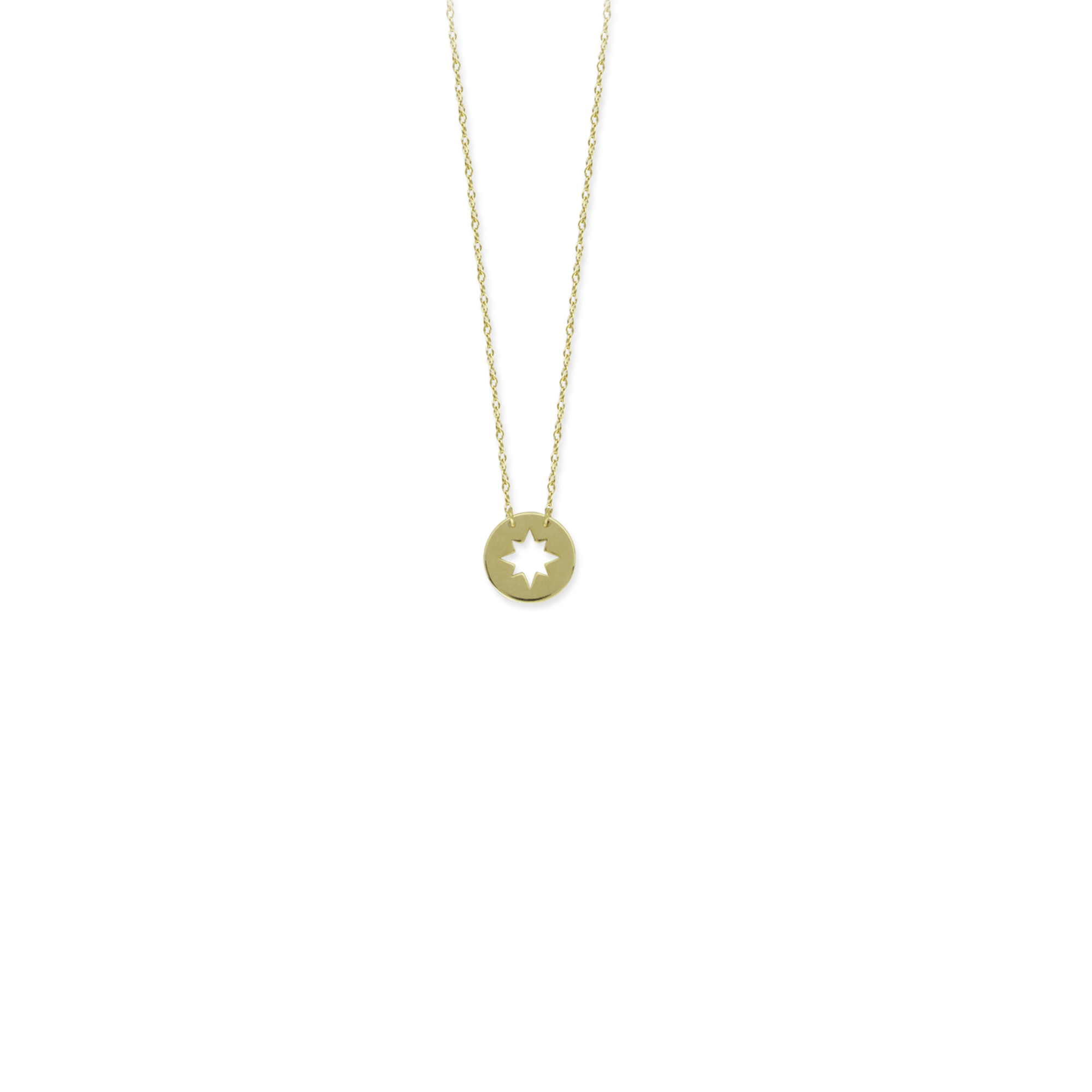 Star Pendant, 14Kt Gold Star Necklace 18