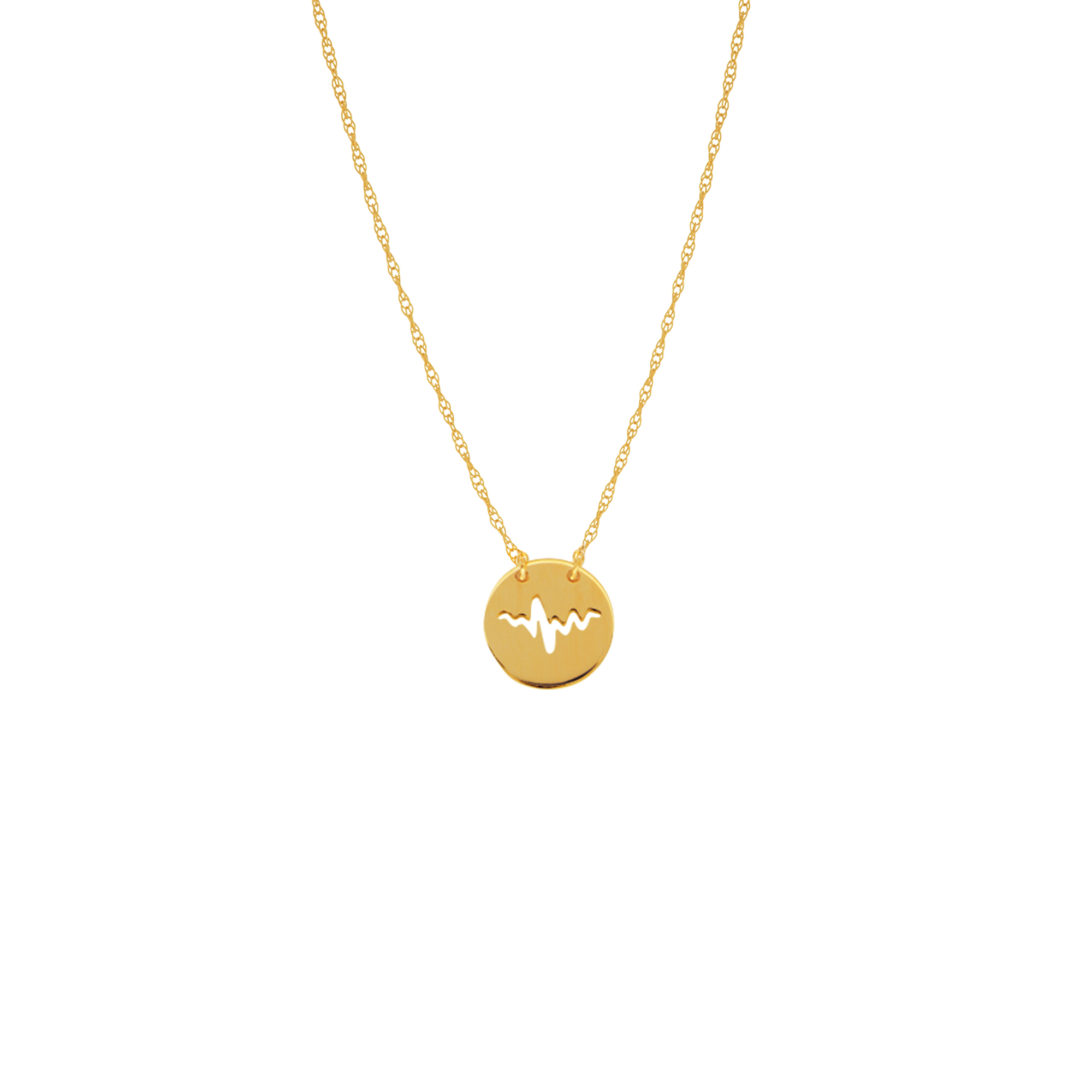 Heartbeat Necklace, 14Kt Gold Heartbeat Necklace 18