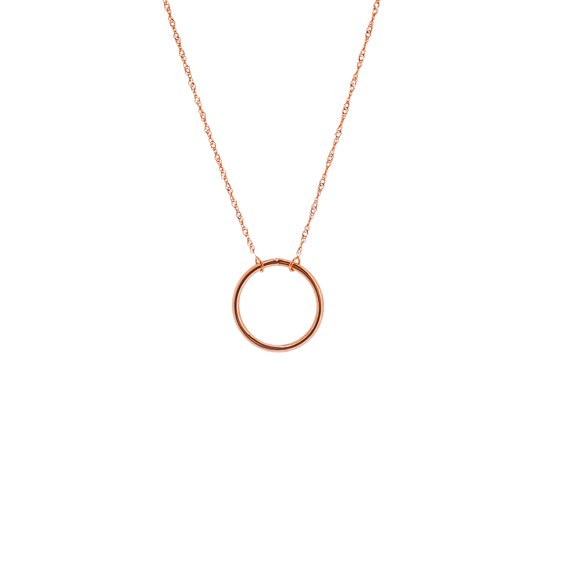 Circle Necklace, 14Kt Gold Circle Necklace 18