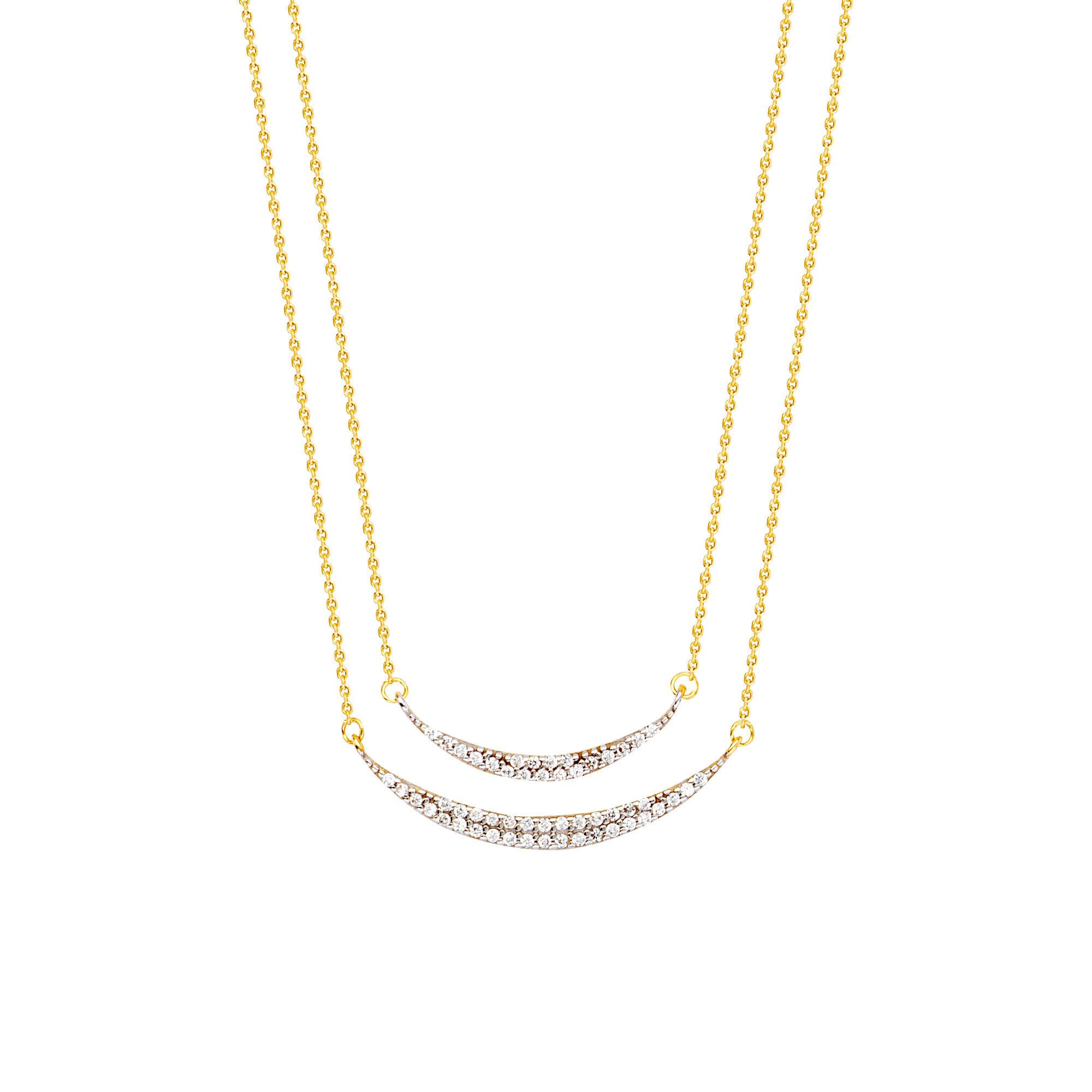 Cresent Moons Necklace, 14Kt Gold Cresent Moon  18