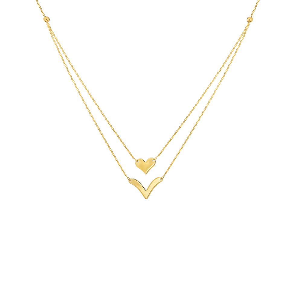Heart Necklace, 14Kt Gold Heart  18