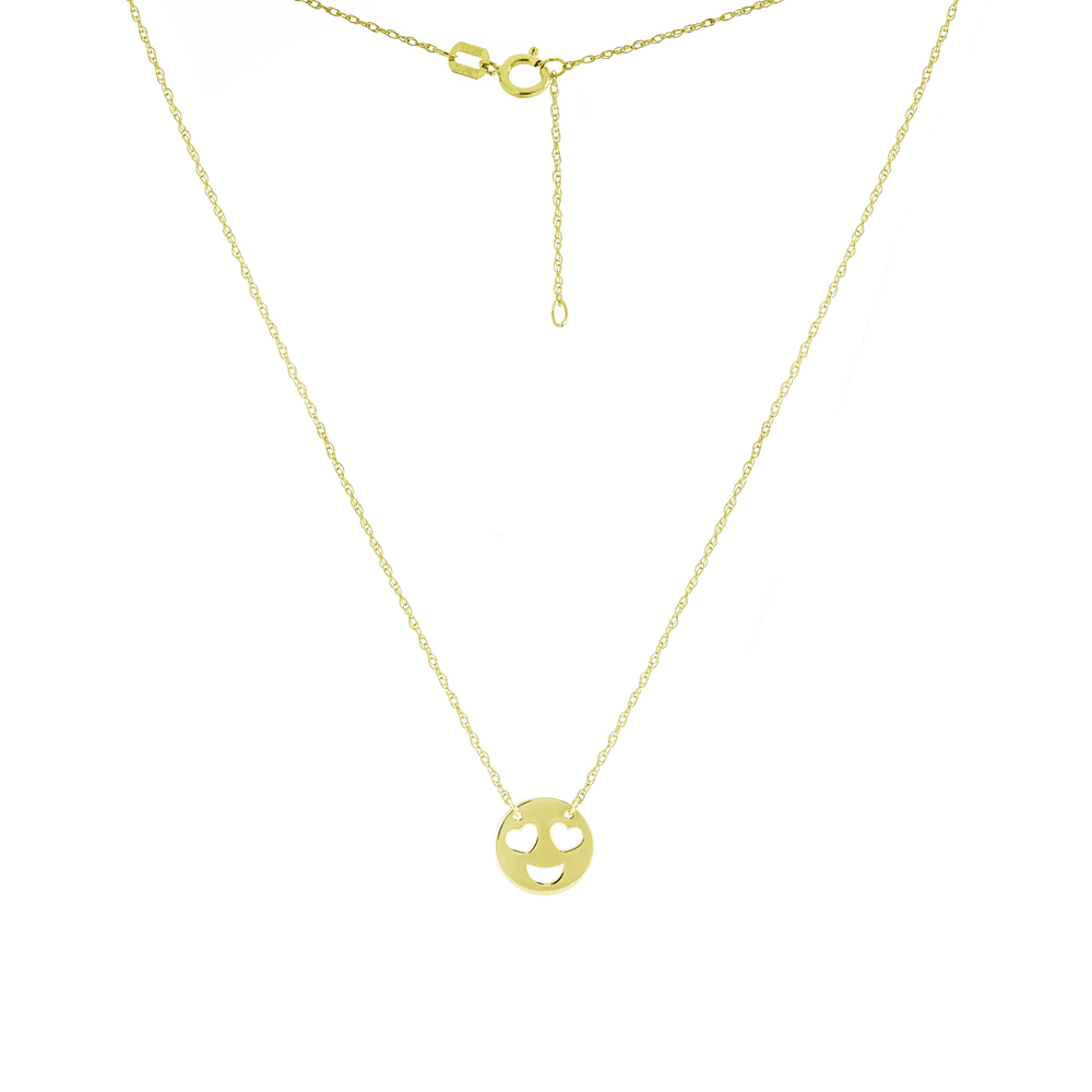 Smiley Face,14Kt Gold Smiley Face  Necklace 18