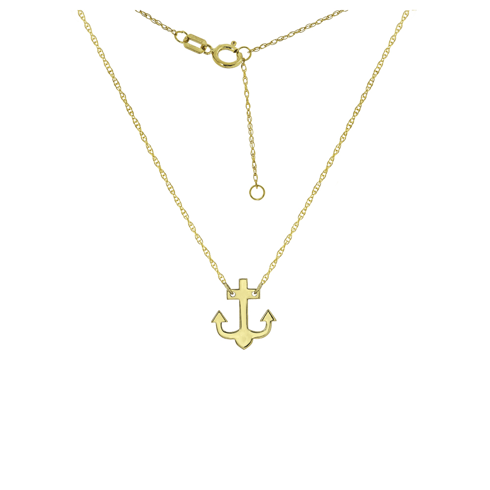 Anchor Necklace, 14Kt Gold   Anchor Necklace 18