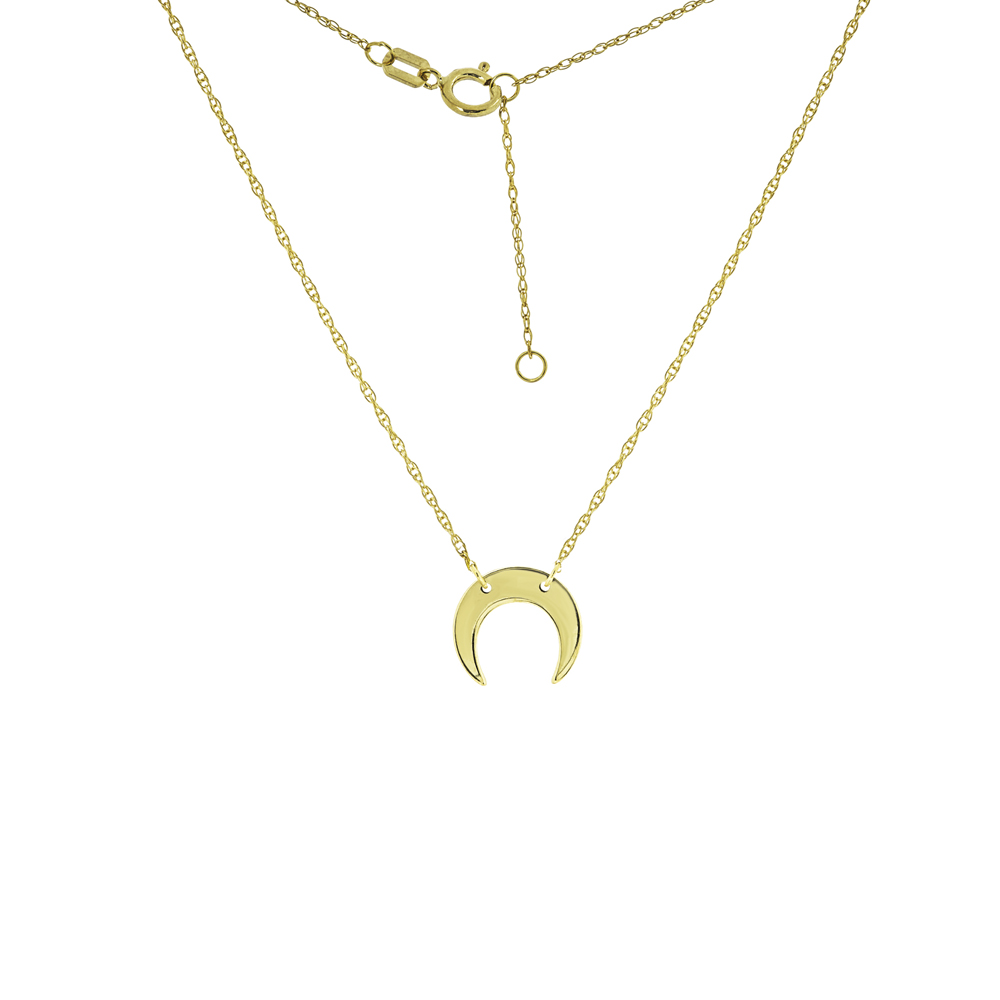 Crescent Moon Necklace,  14Kt Gold Moon Necklace 18