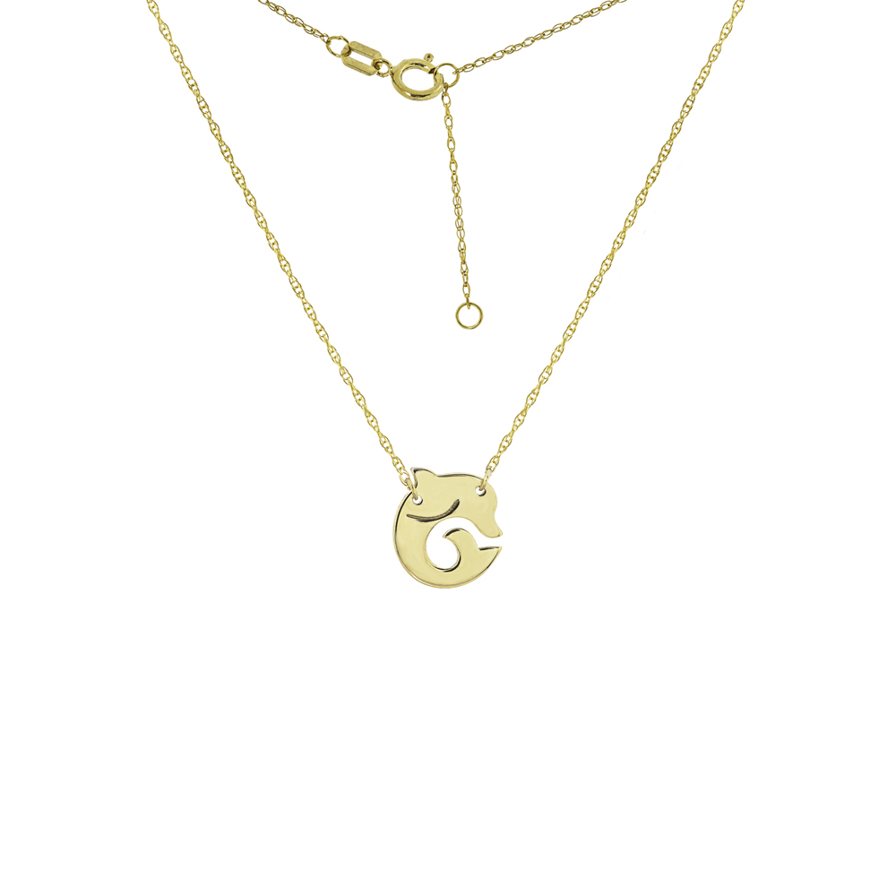 Dolphin Necklace, 14Kt Gold Dolphin Necklace 18