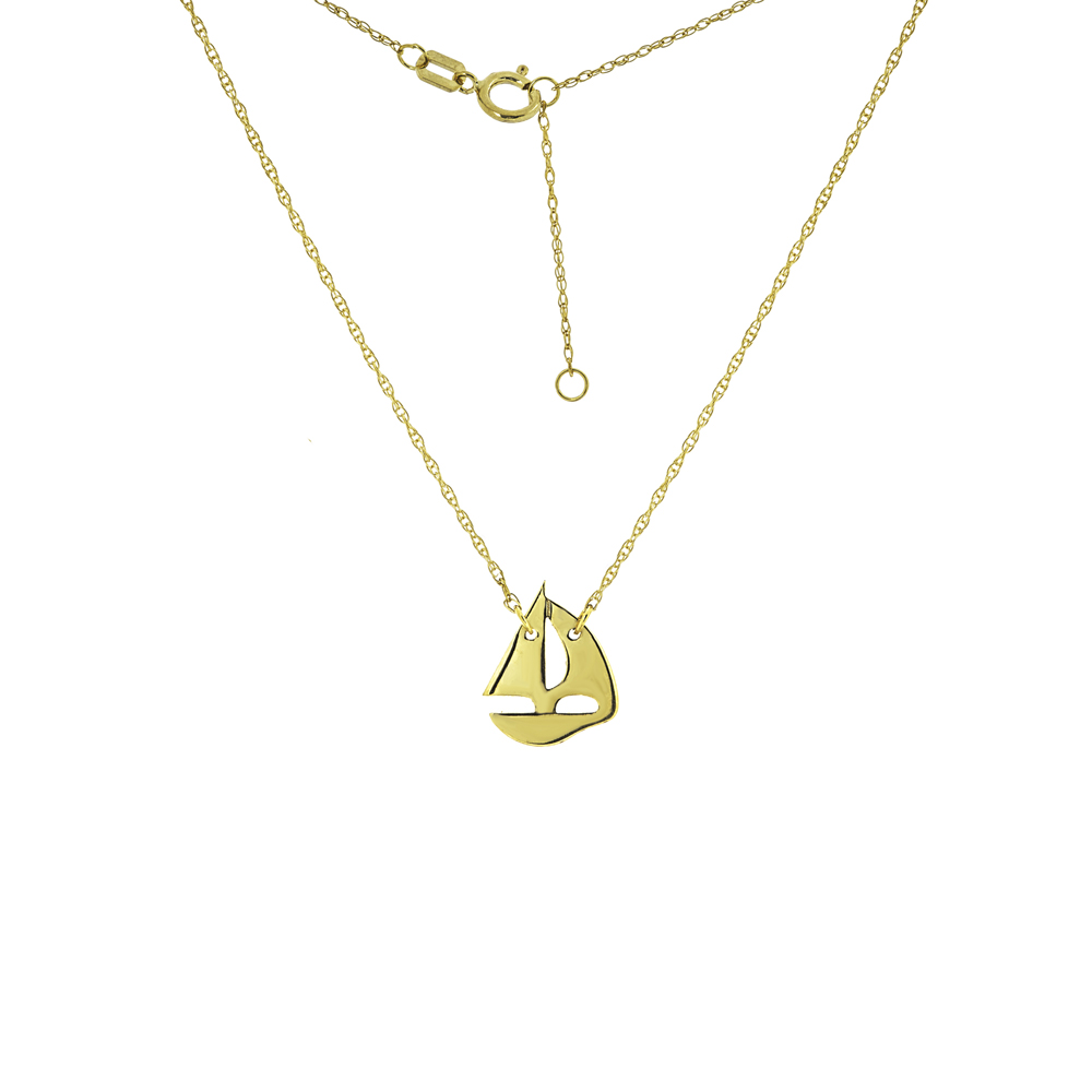 Sailing Boat Necklace, 14Kt Gold Boat Necklace 18