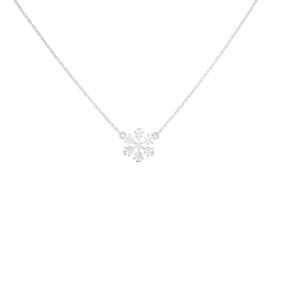 Snowflake Necklace, 14Kt Gold Snowlake Necklace 18