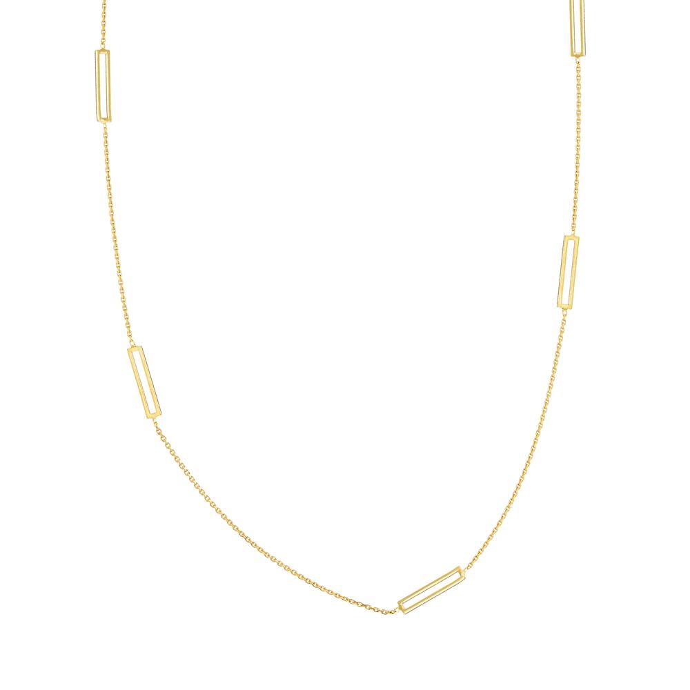 Rectangular Necklace, 14Kt Gold  Rectangular 18