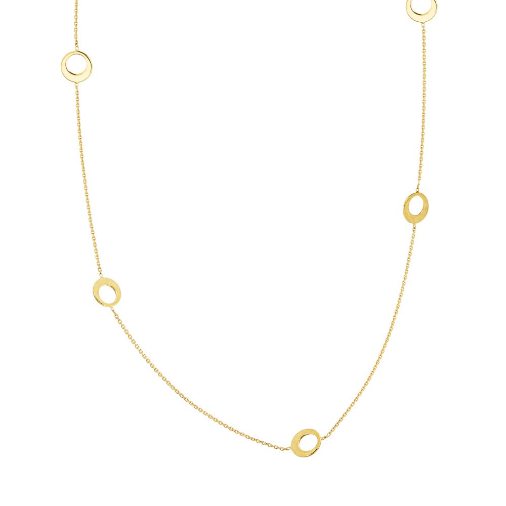 Circle Necklace, 14Kt Gold Circle 18