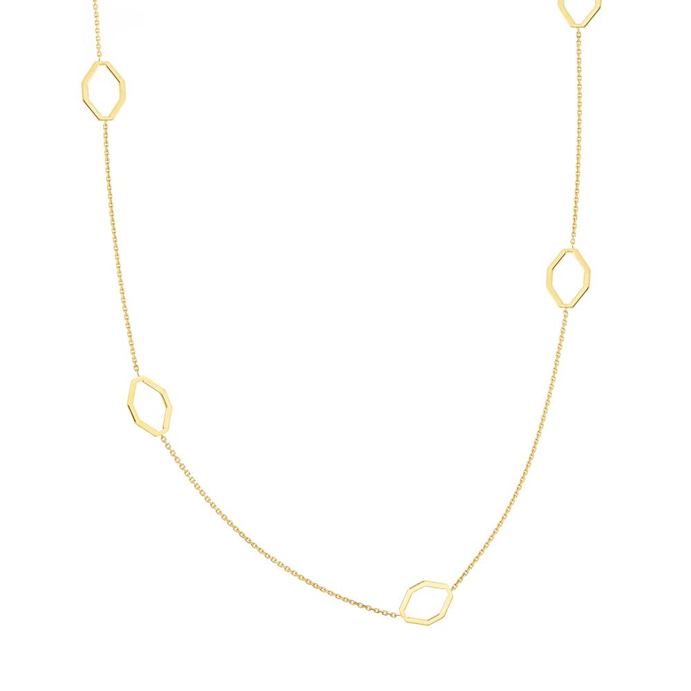 Geometric Necklace, 14Kt Gold Geometric 18