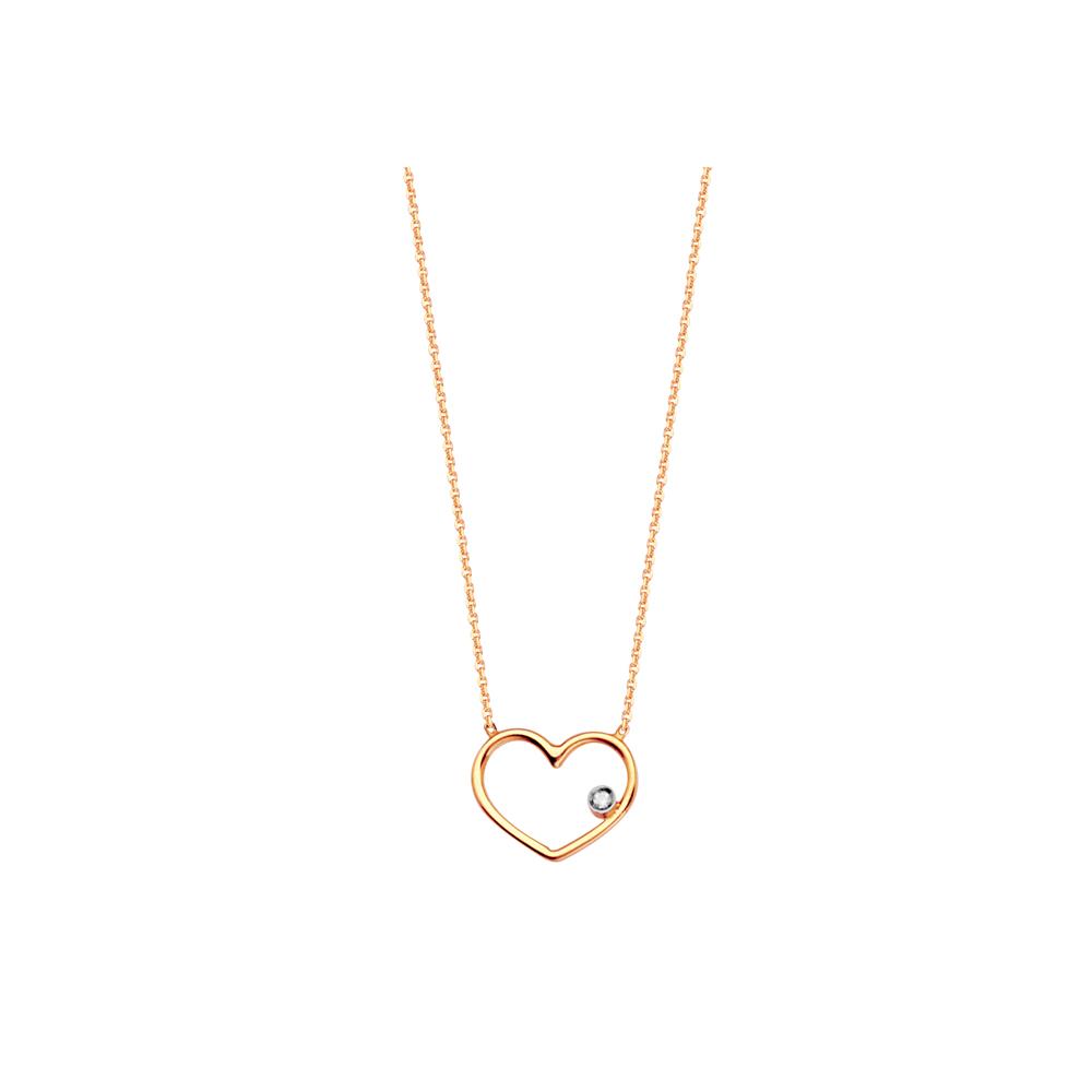 Heart Necklace, 14Kt Gold & Diamond Heart Necklace 18