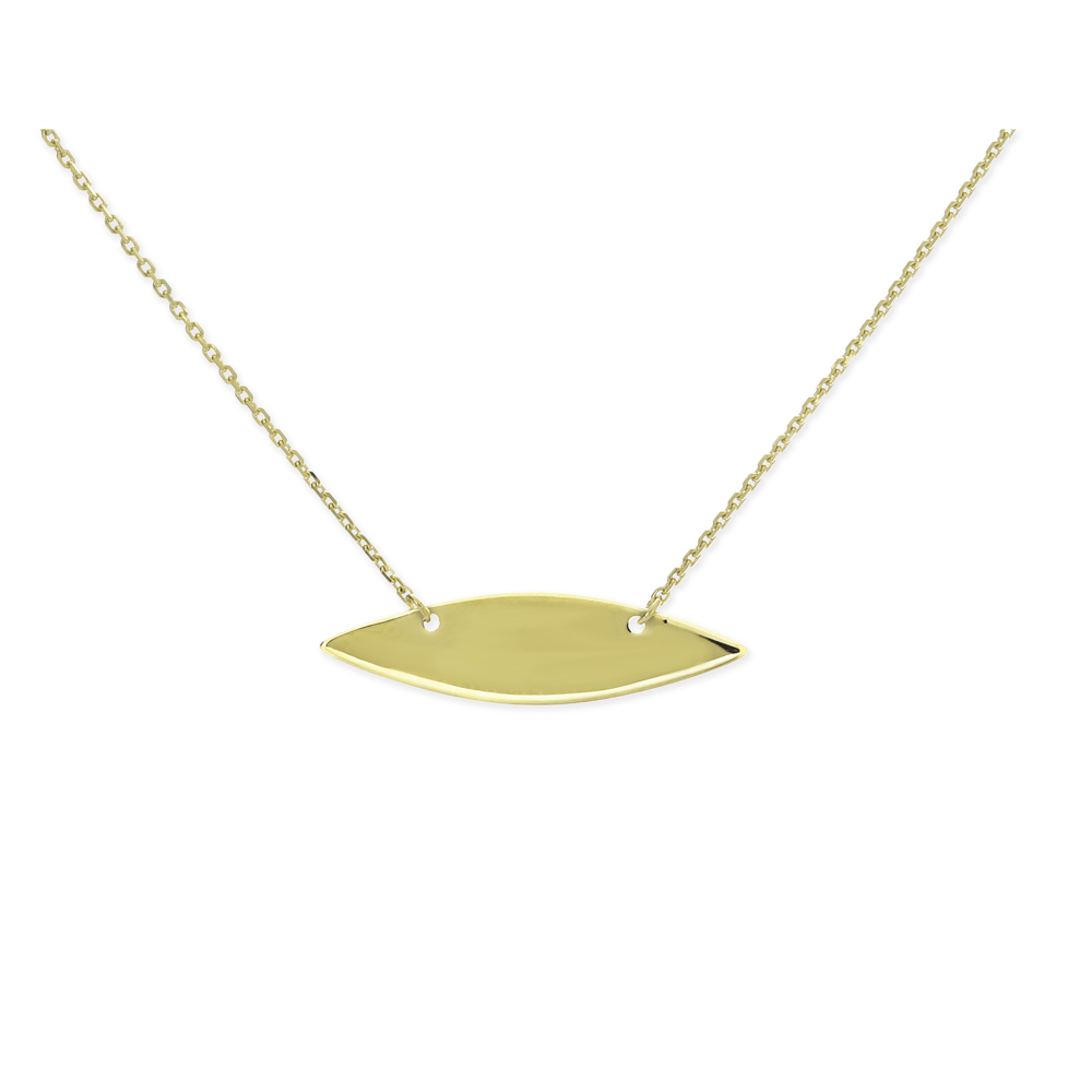 Plate Necklace, 14Kt Gold Plate Necklace 18