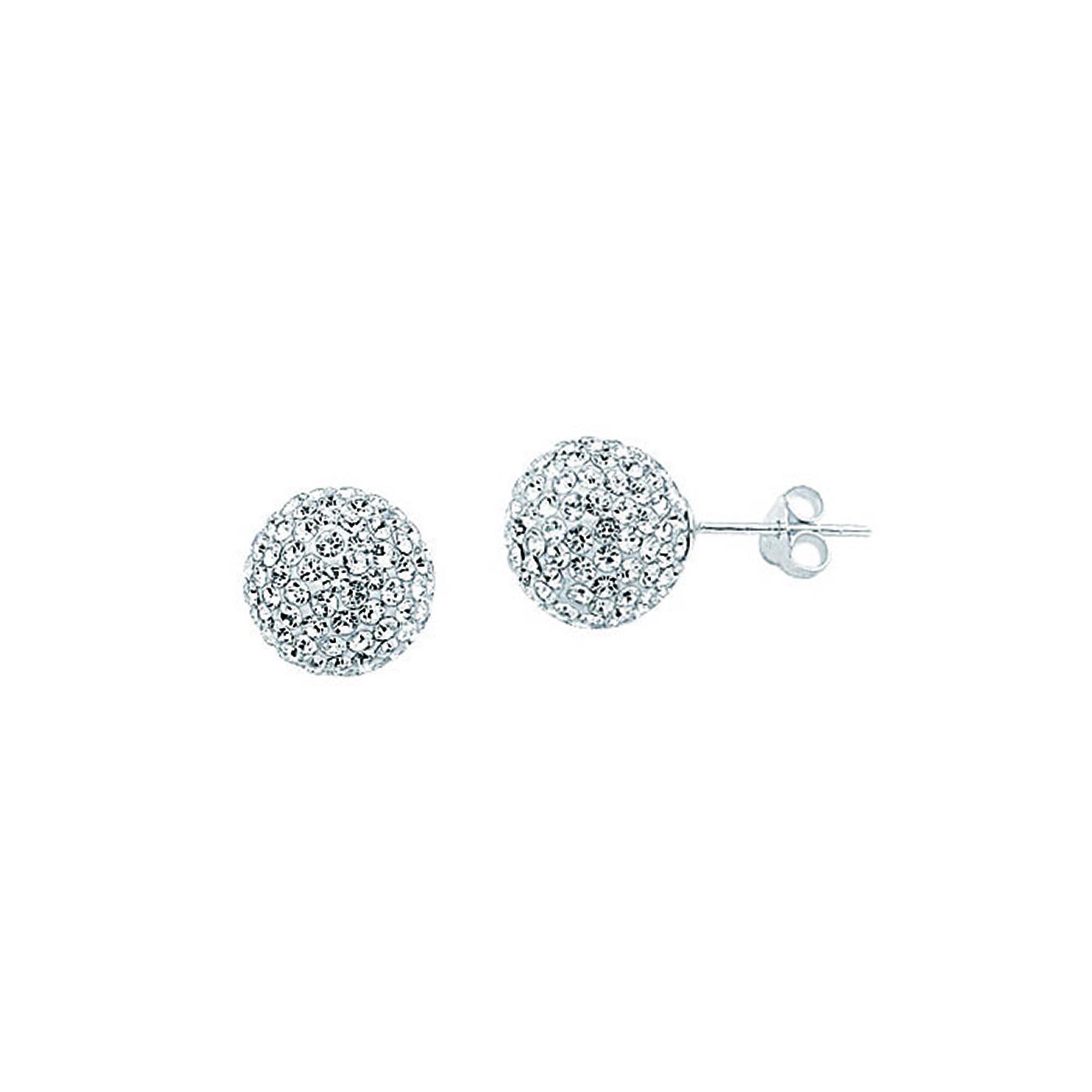 Silver Pendant, Ss 12Mm Ball Earrings / White Resin