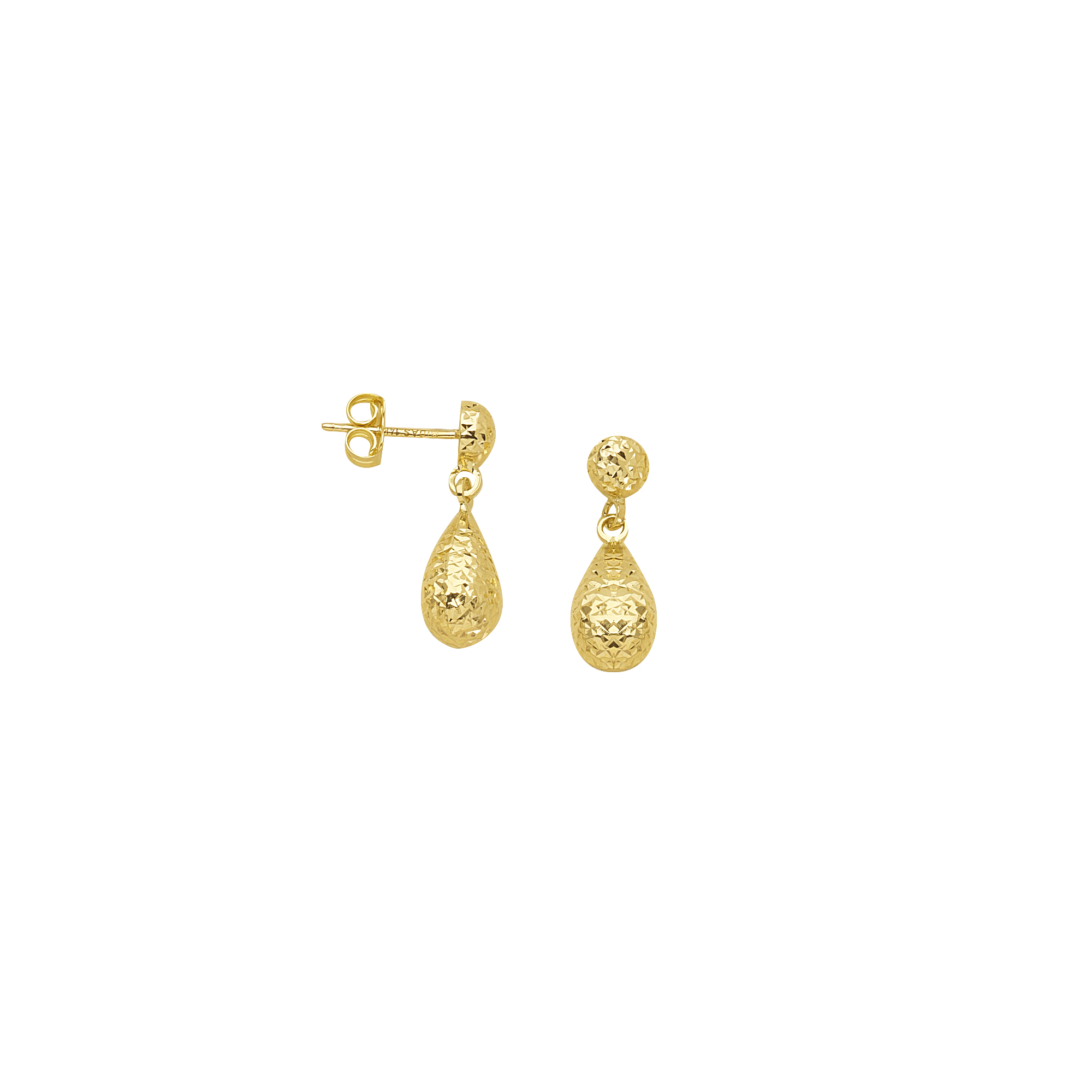 Tear Drop Earrings, 14Kt Gold  Post Dangle Tear Drop Earring