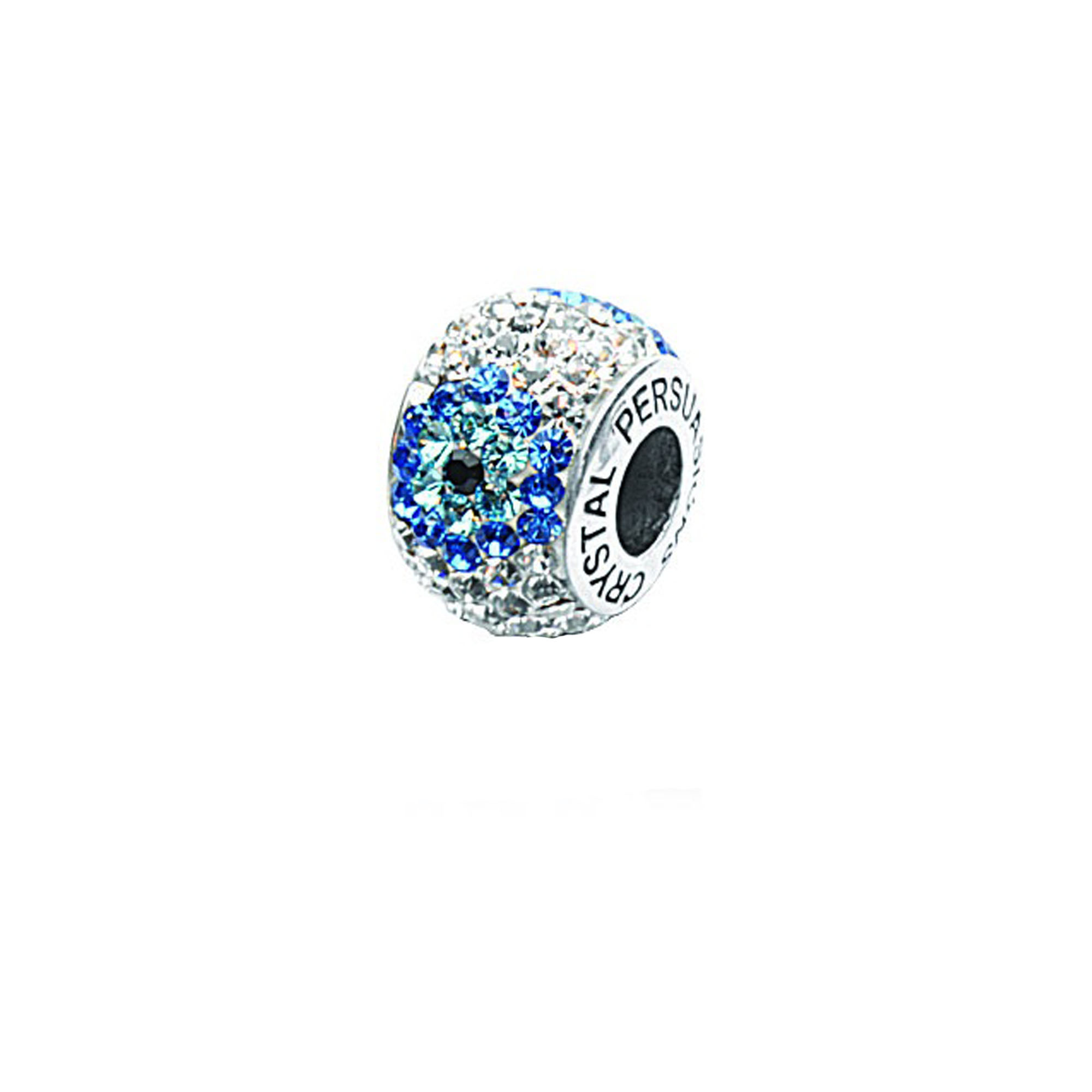 Silver Pendant, Flower Blue/ White Cyrstal Bead
