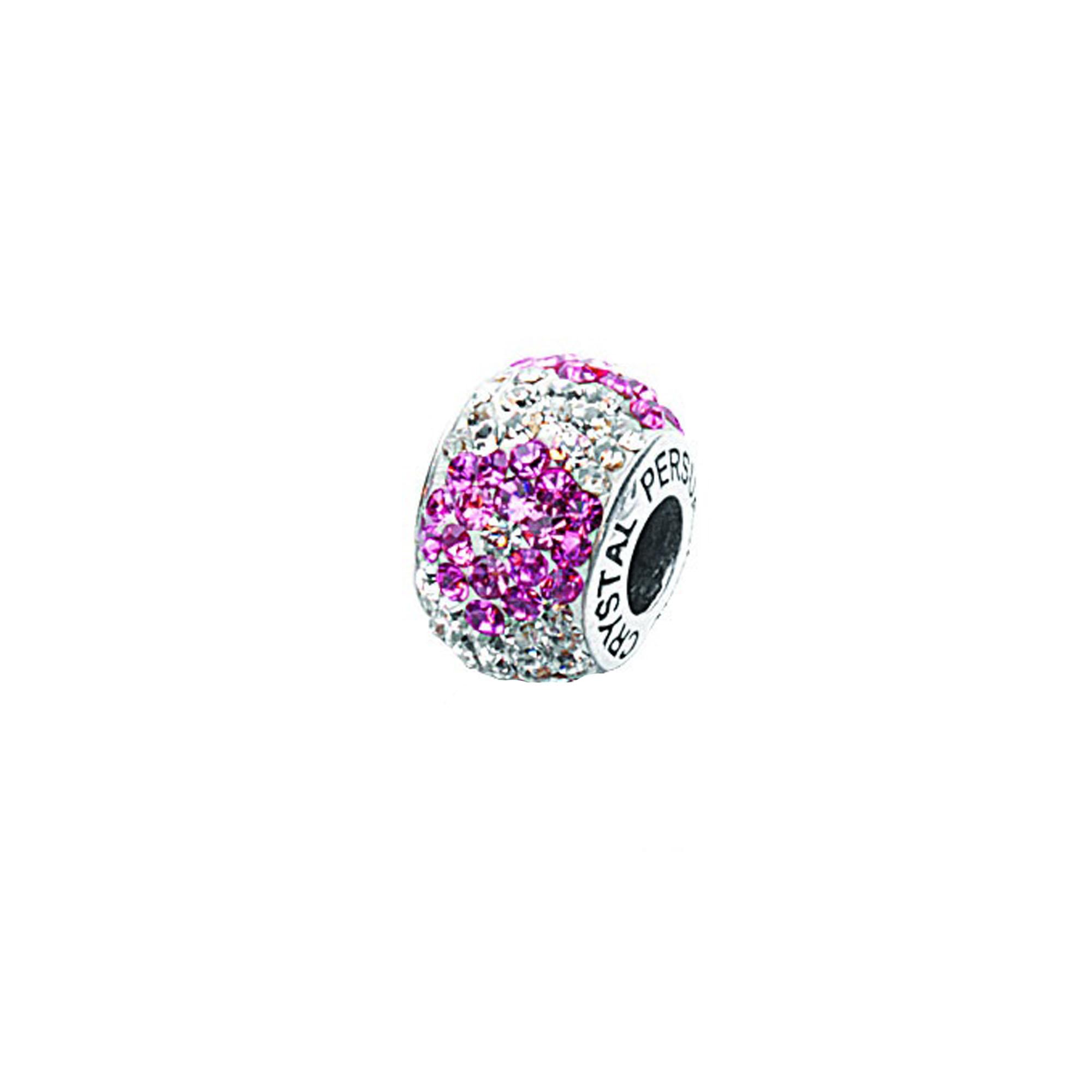 Silver Pendant, Flower Pink/ White Cyrstal Bead
