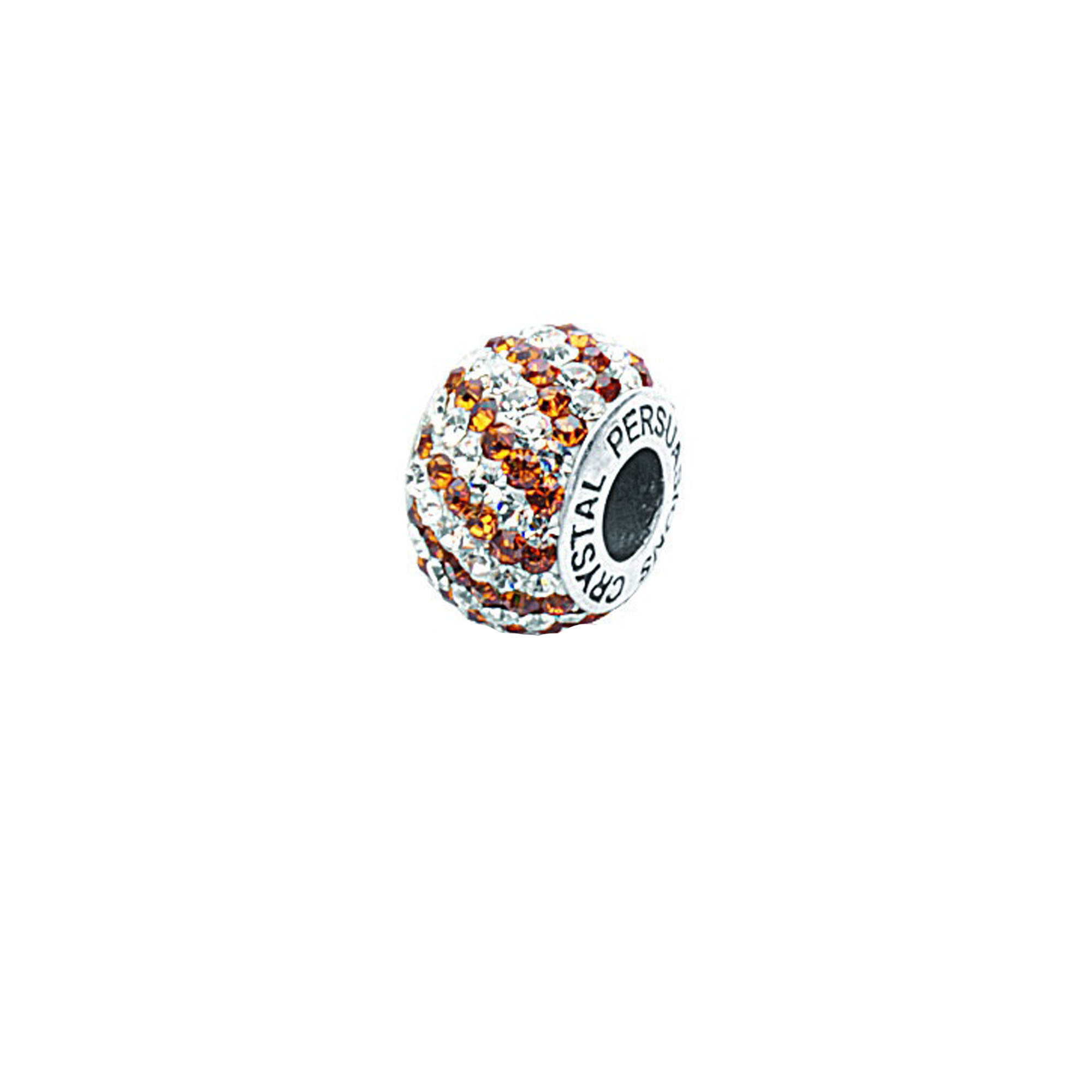 Silver Pendant, Amber/ White Swirl Crystal Bead