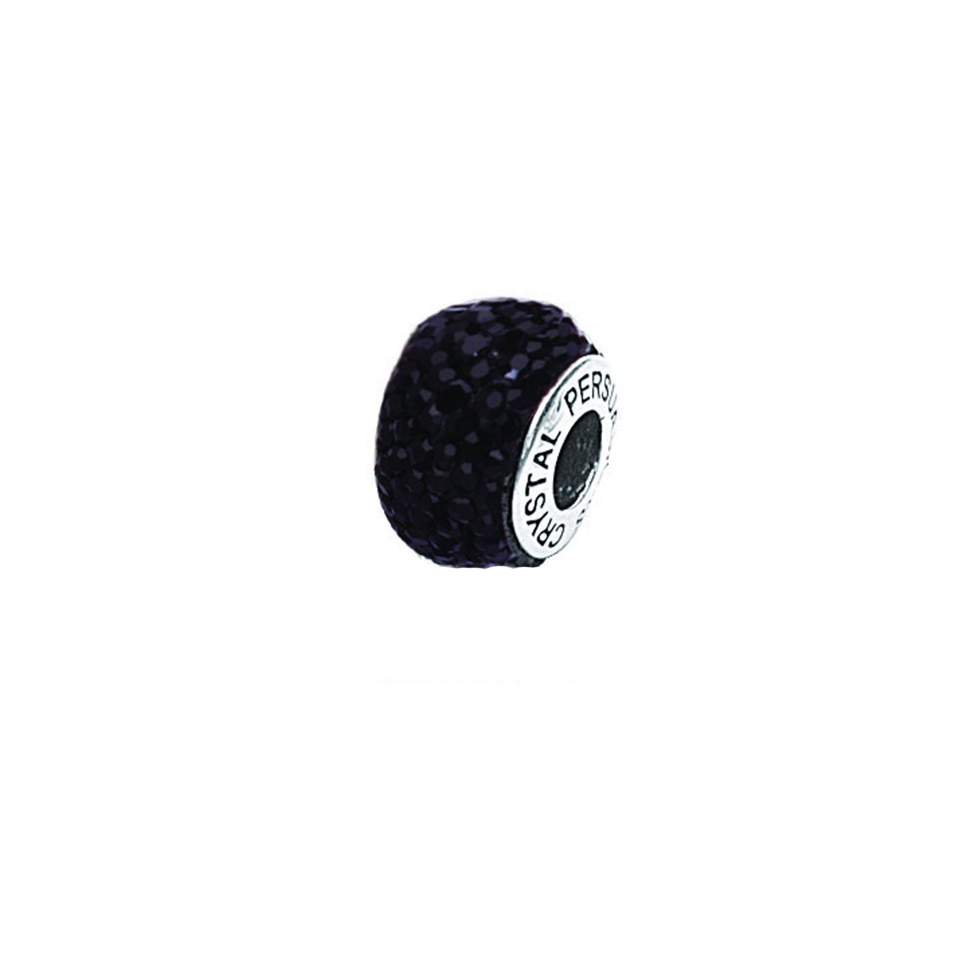 Silver Pendant, Black Crystal Bead