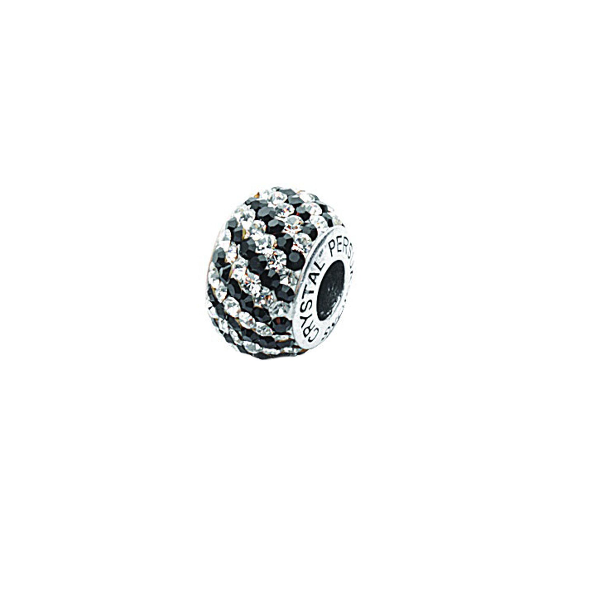 Silver Pendant, Black/ White Swirl Crystal Bead